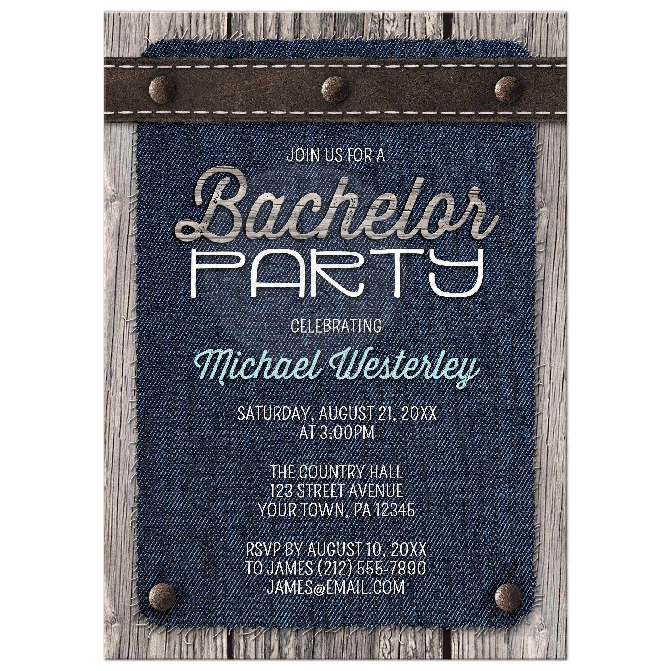 Party Invitations Denim Wood Leather Rustic – Stag Party Invitation