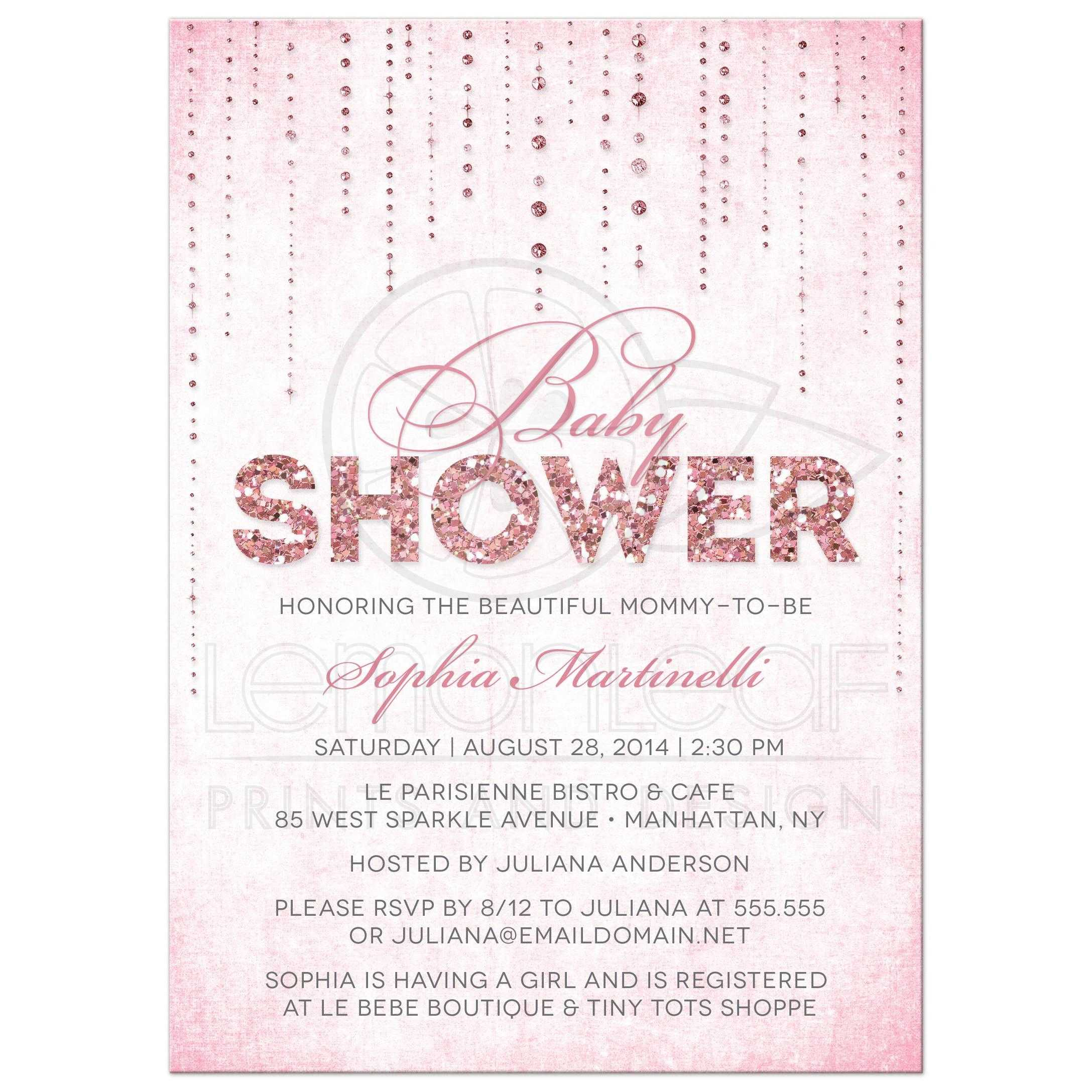 Baby Shower Invitations - Glitter Look Streaming Gems - Pink