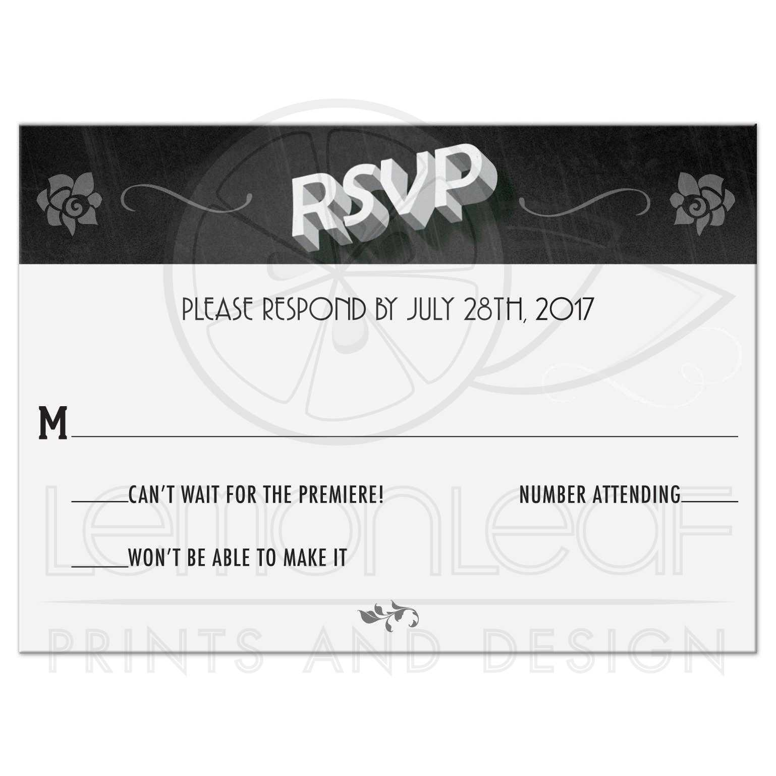 wedding reply rsvp card vintage movie title screen