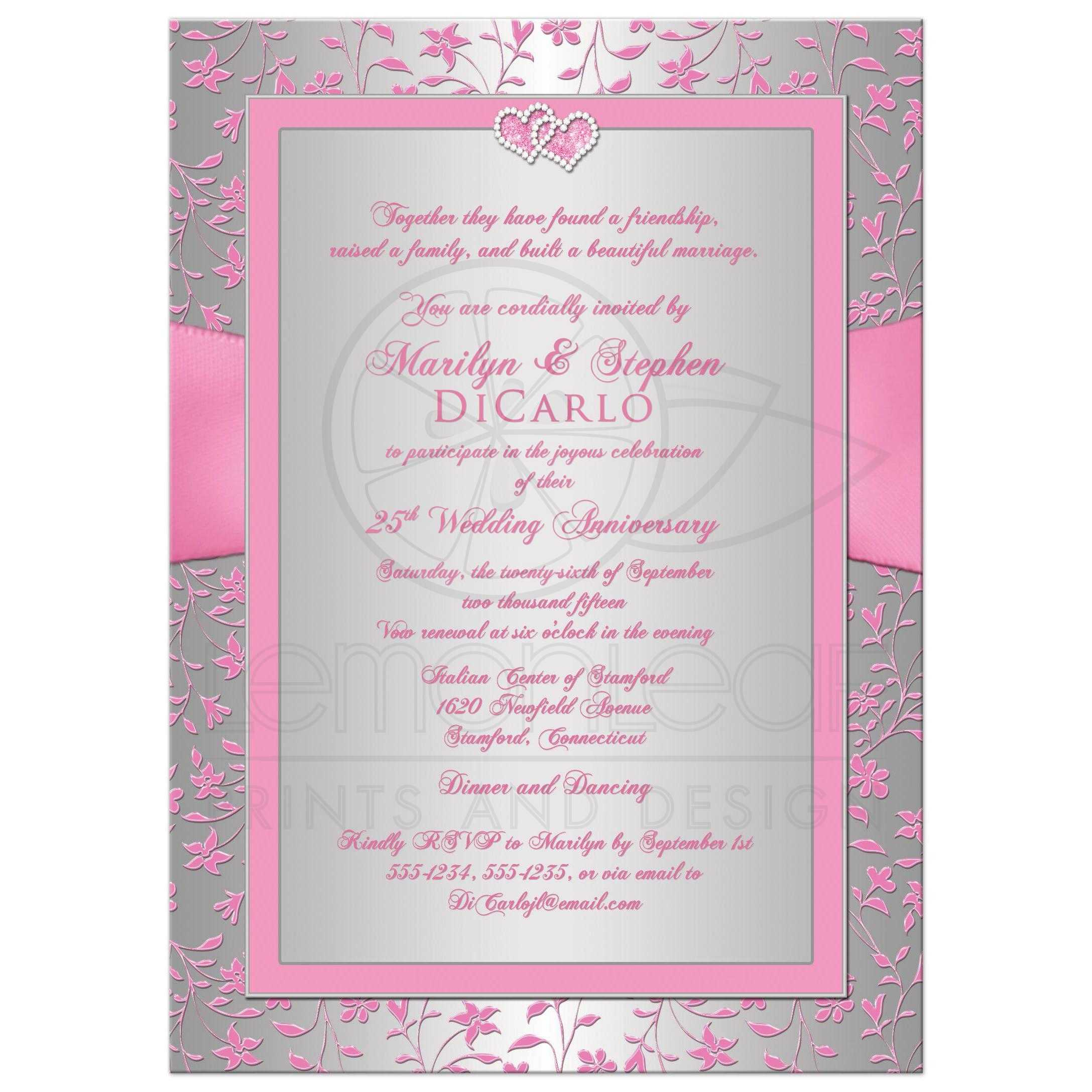 25th Wedding Anniversary Invite | Pink, Silver Floral | Joined ...
