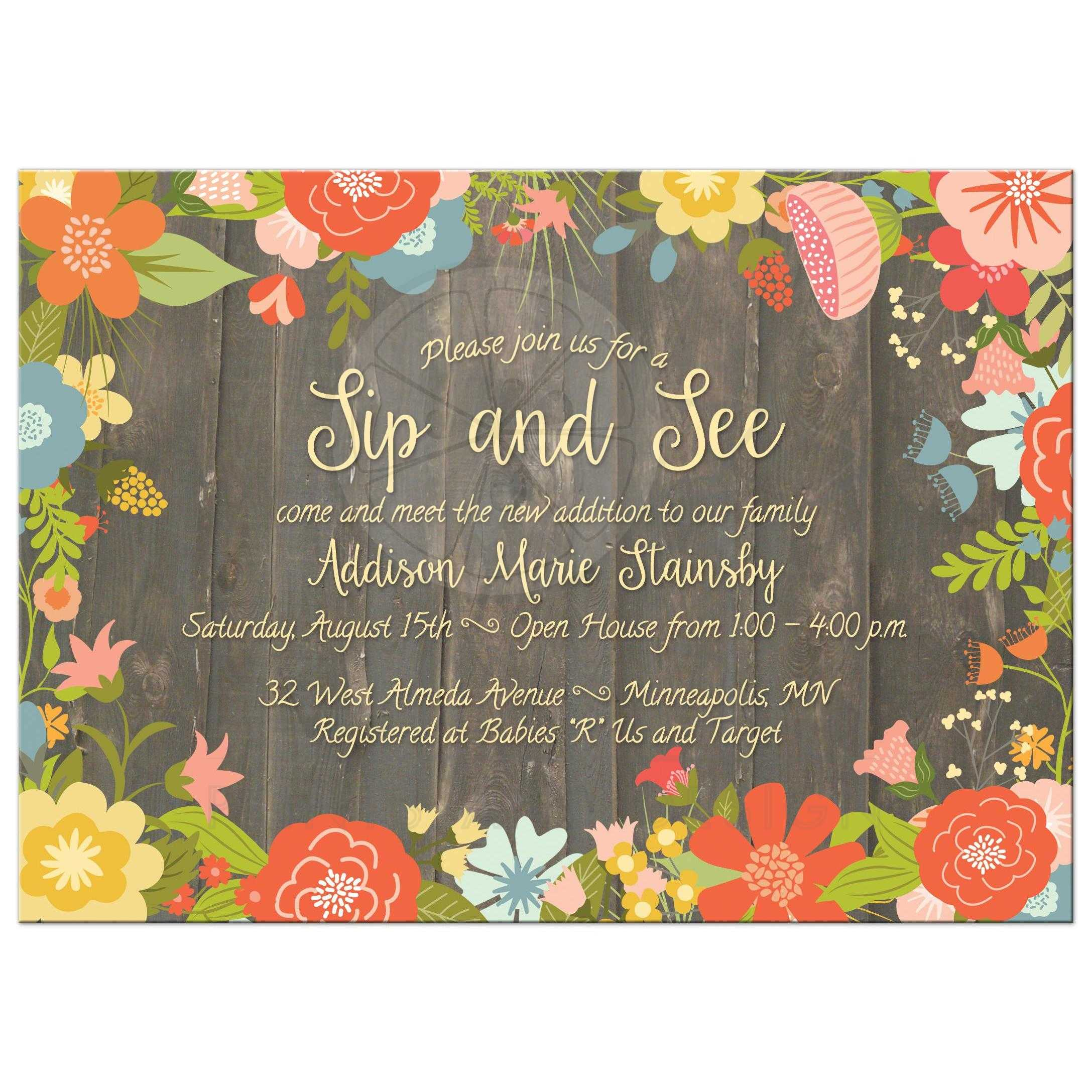 sip and see invitation rustic colorful flowers and wood grain