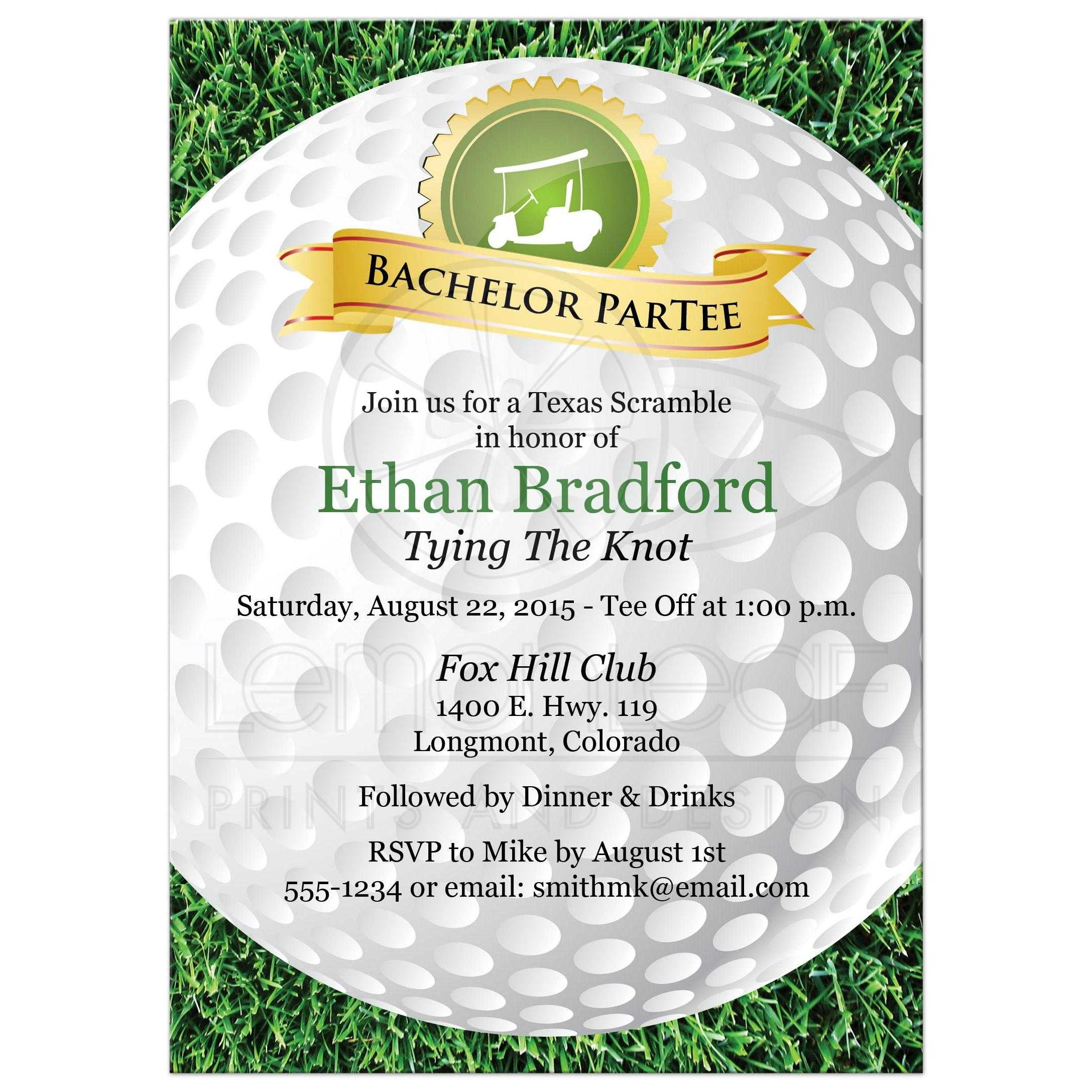 Bachelor party invite gangcraft bachelor party invitation golf golfing theme golf ball grass party invitations monicamarmolfo Choice Image