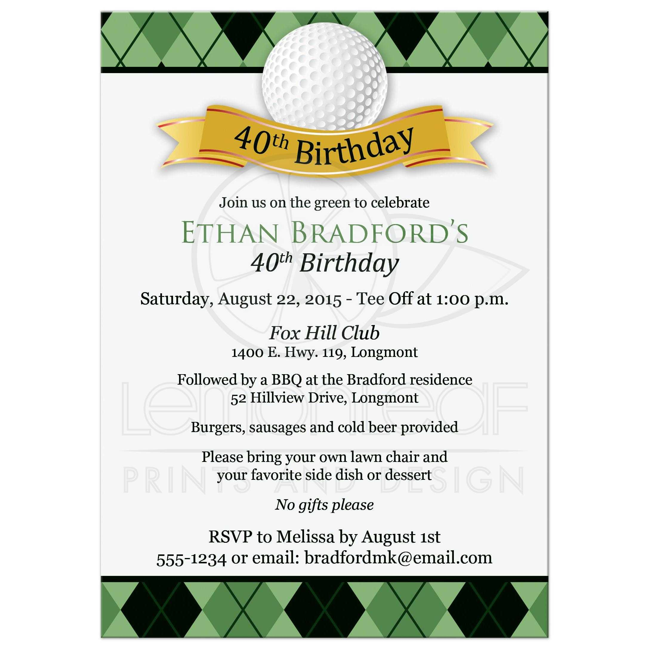 40th Birthday Party Invitation | Golf Theme | Green Argyle Plaid ...