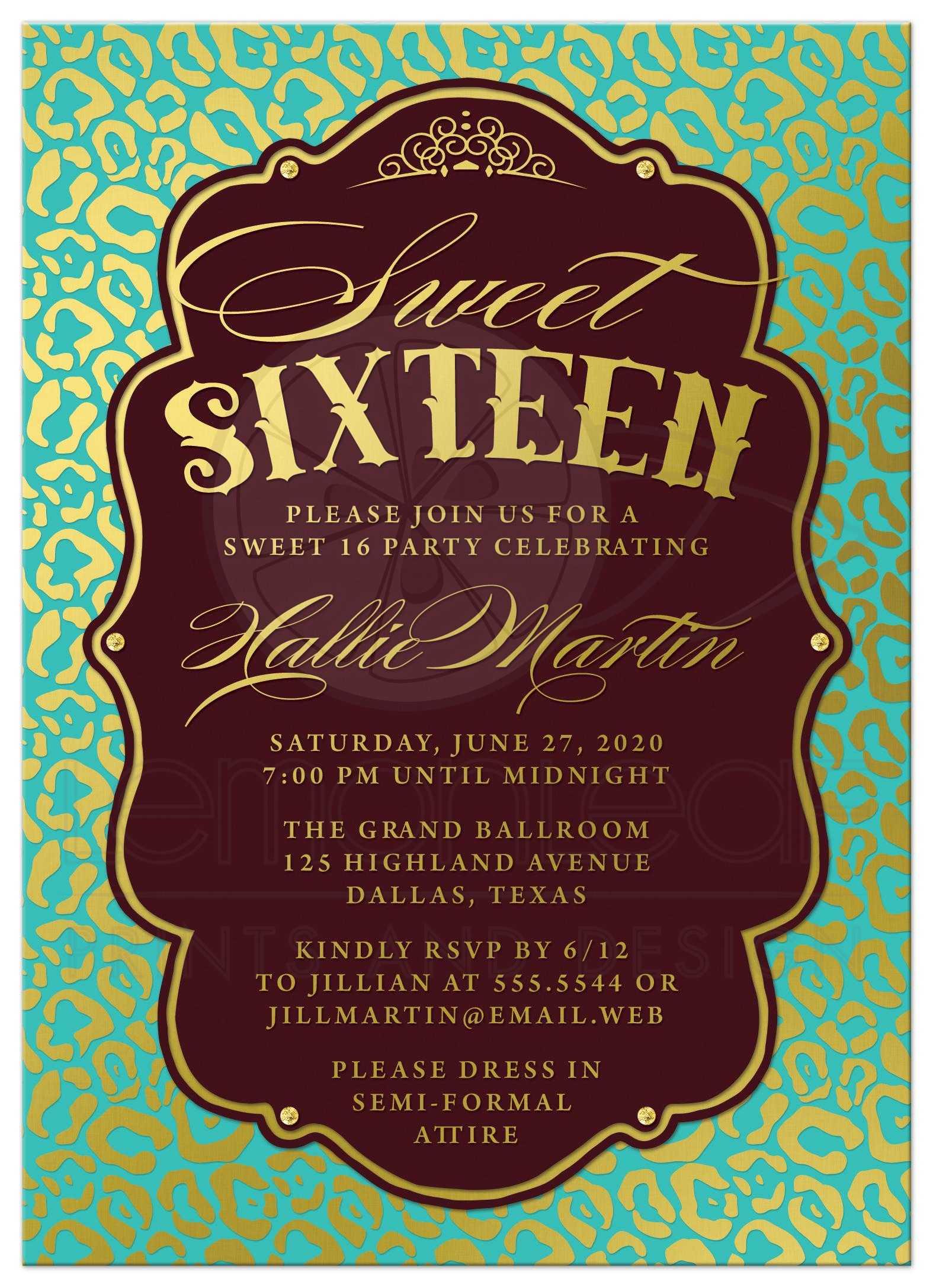 Sweet 16 Party Invitations - Aqua Blue & Gold Leopard Print