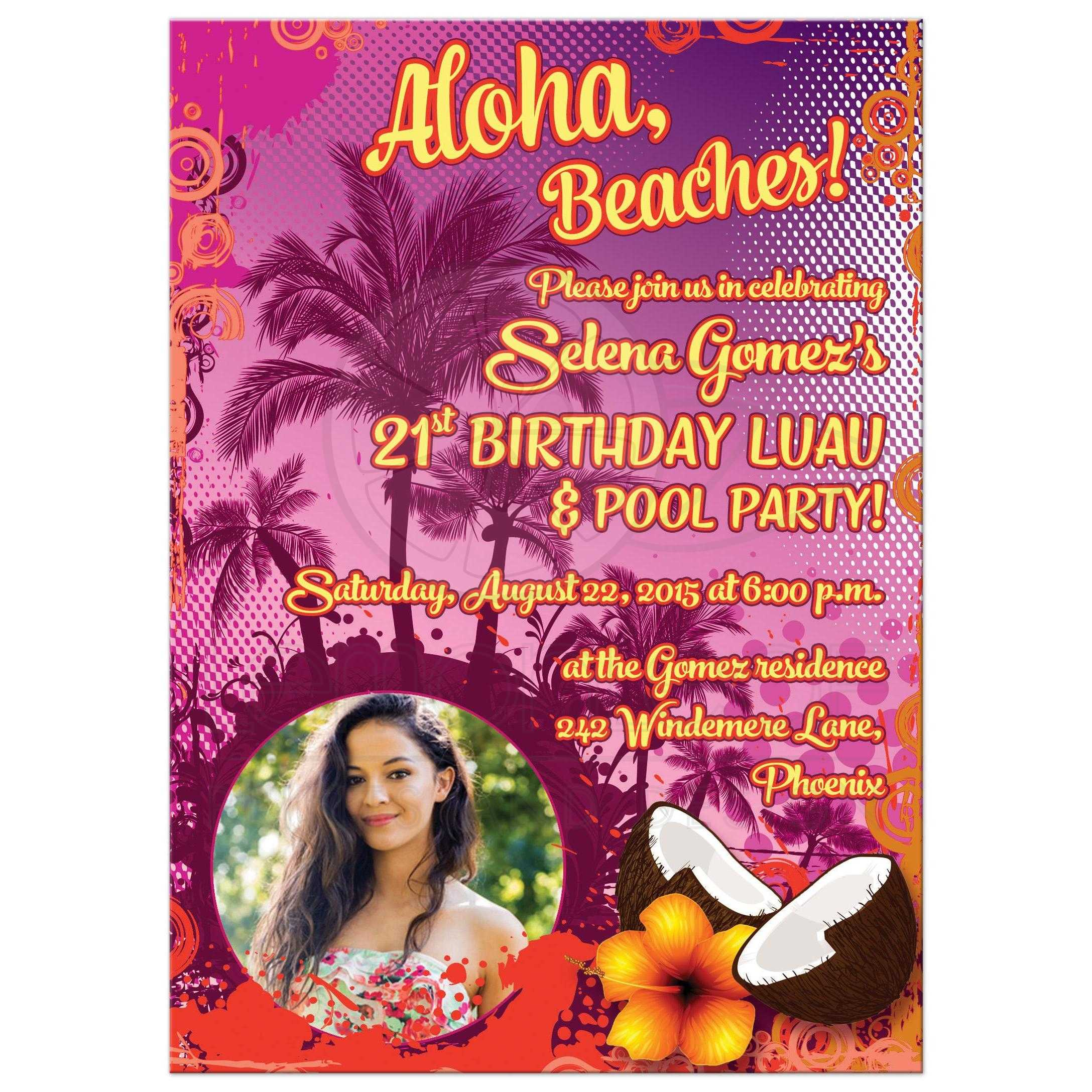 21st Birthday Party Invitation | Photo | Hawaiian Luau