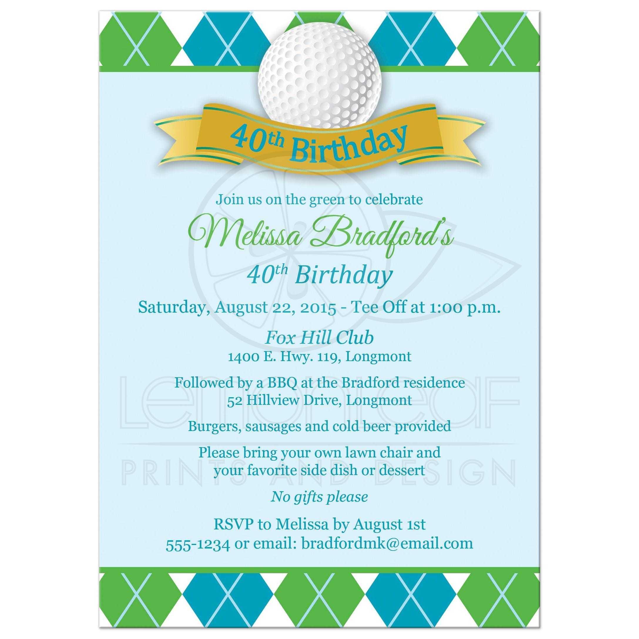 40th birthday party invitation golf theme green blue white best 40th birthday invitation for a woman golfer stopboris Choice Image