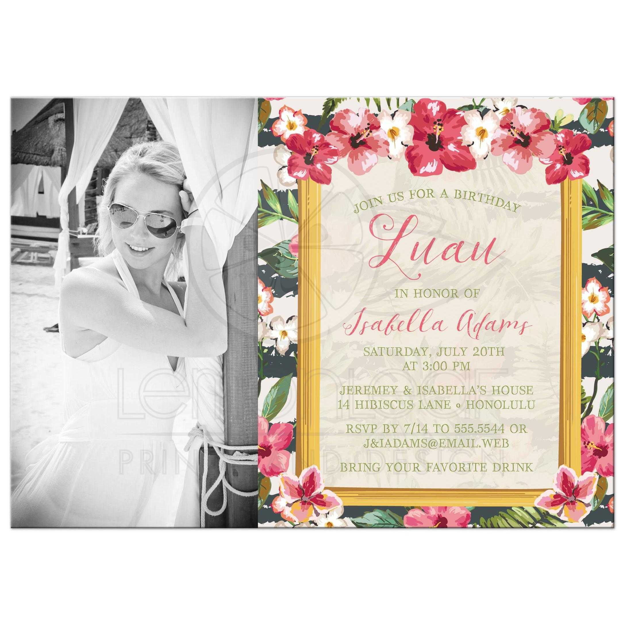 Luau Adult Birthday Party Photo Invitation Frangipani Hibiscus