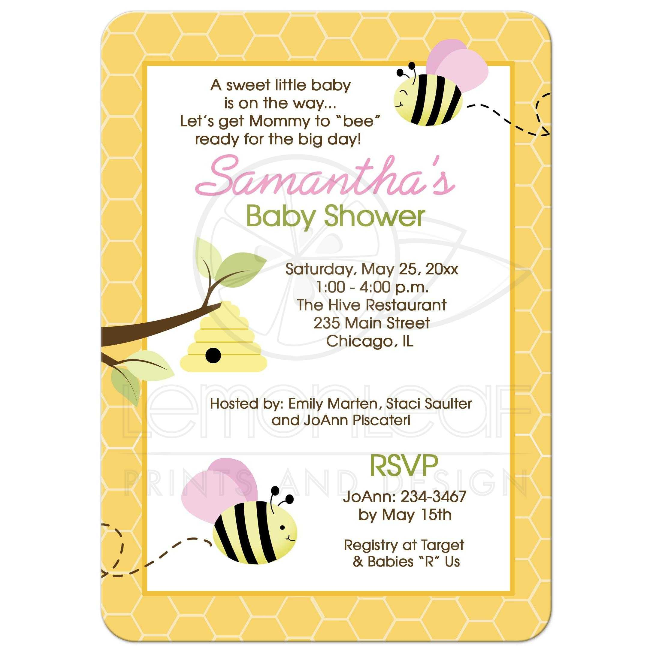 Bumble Bee Pink Girl Baby Shower Invitations
