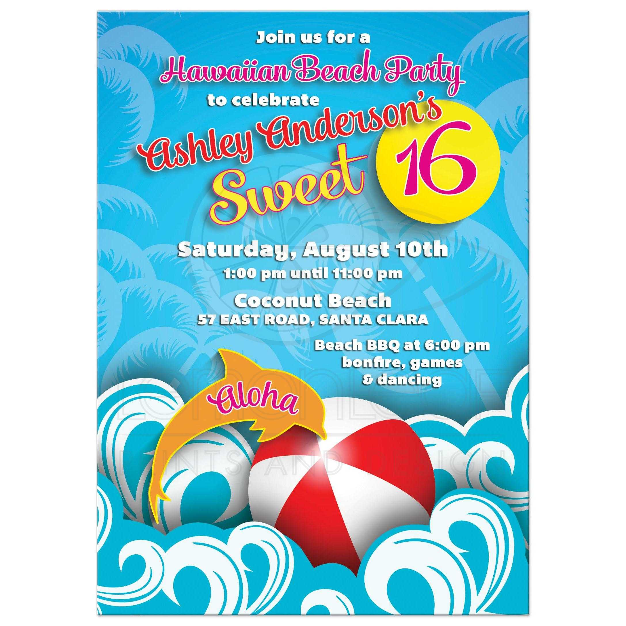 Hawaiian Luau Beach Themed Sweet 16 Birthday Party Invitation Front