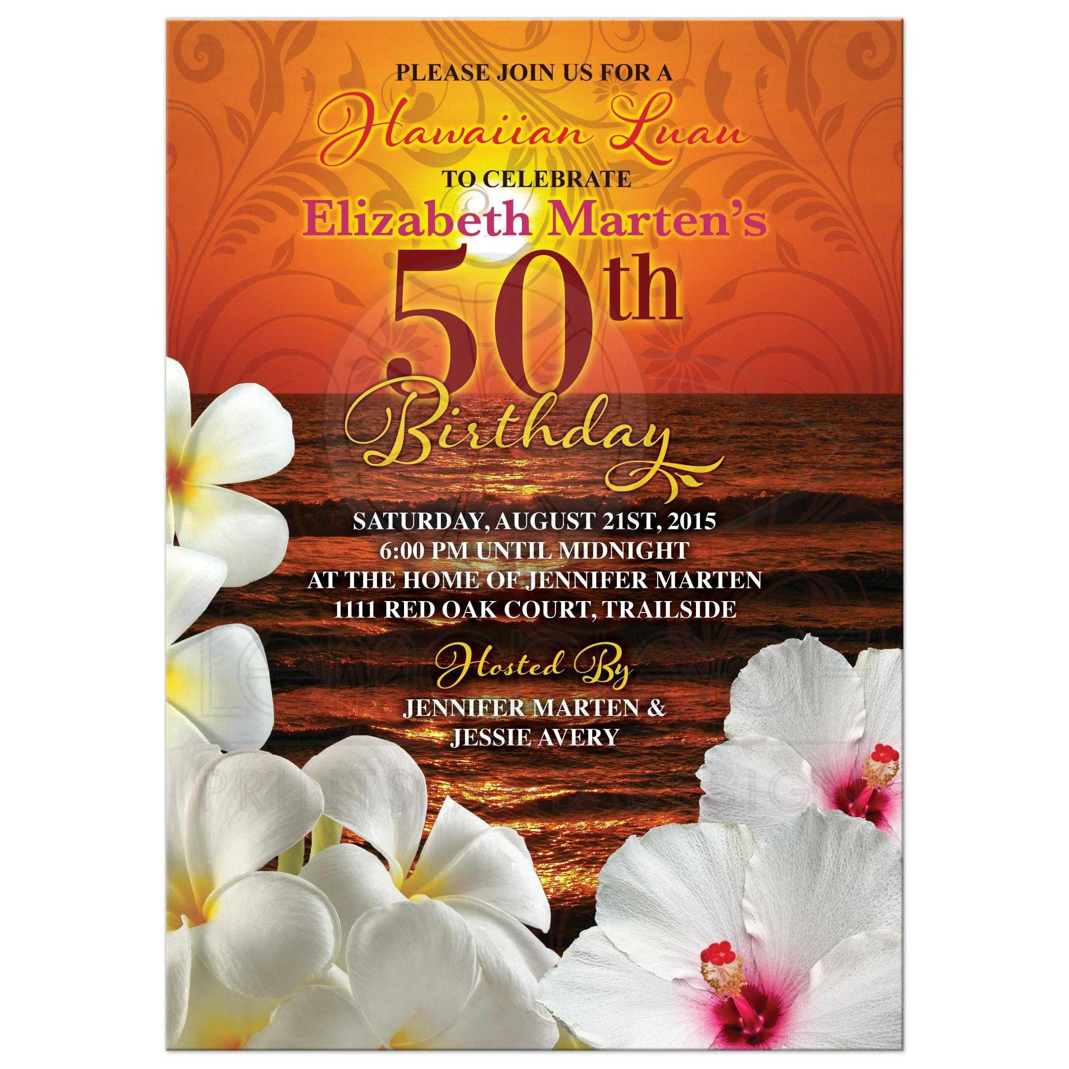 Sunset beach hawaiian luau 50th birthday invitation beautiful sunset beach tropical hawaiian luau 50th birthday party invitation front filmwisefo