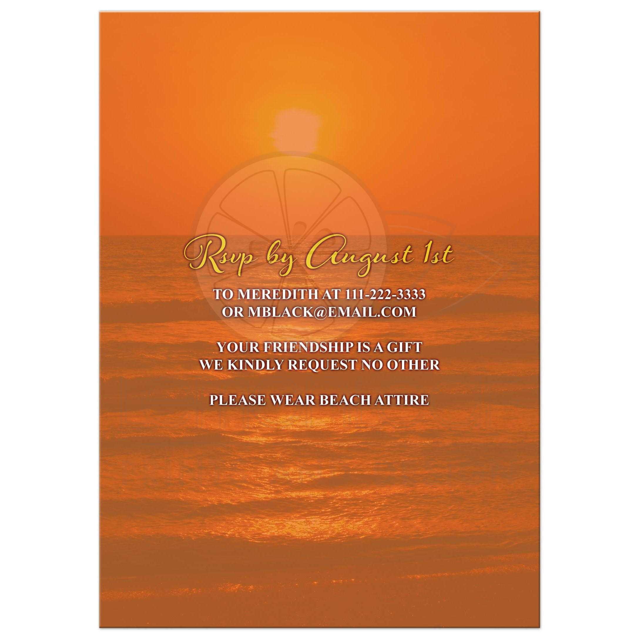 Beautiful Sunset Beach Tropical Hawaiian Luau 50th Birthday Party Invitation Back