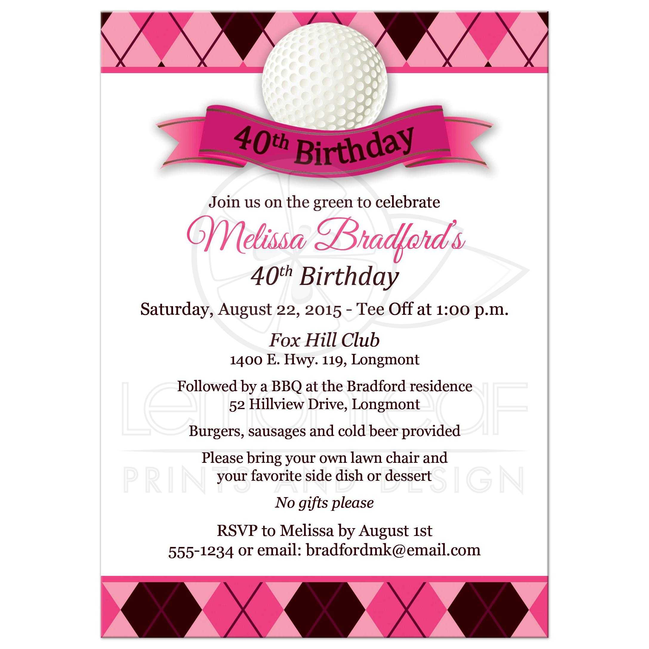 40th Birthday Party Invitation Golf Theme Pink Black White