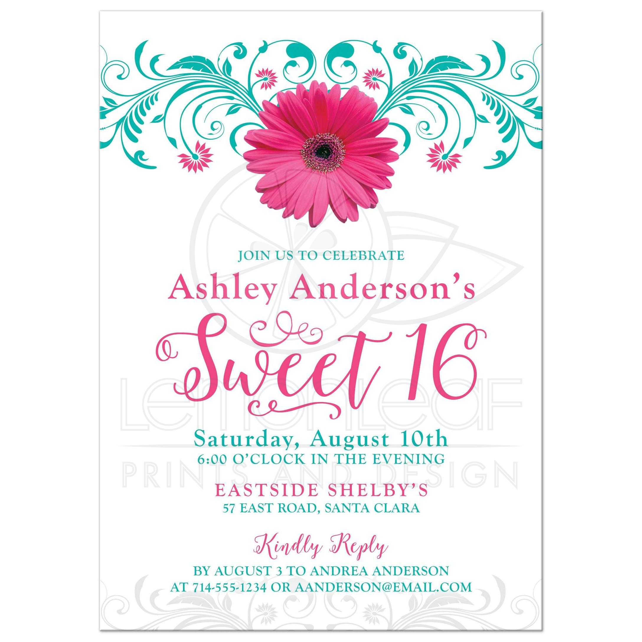 Pink Gerber Daisy And Teal Floral Sweet 16 Birthday Party Invitation Front