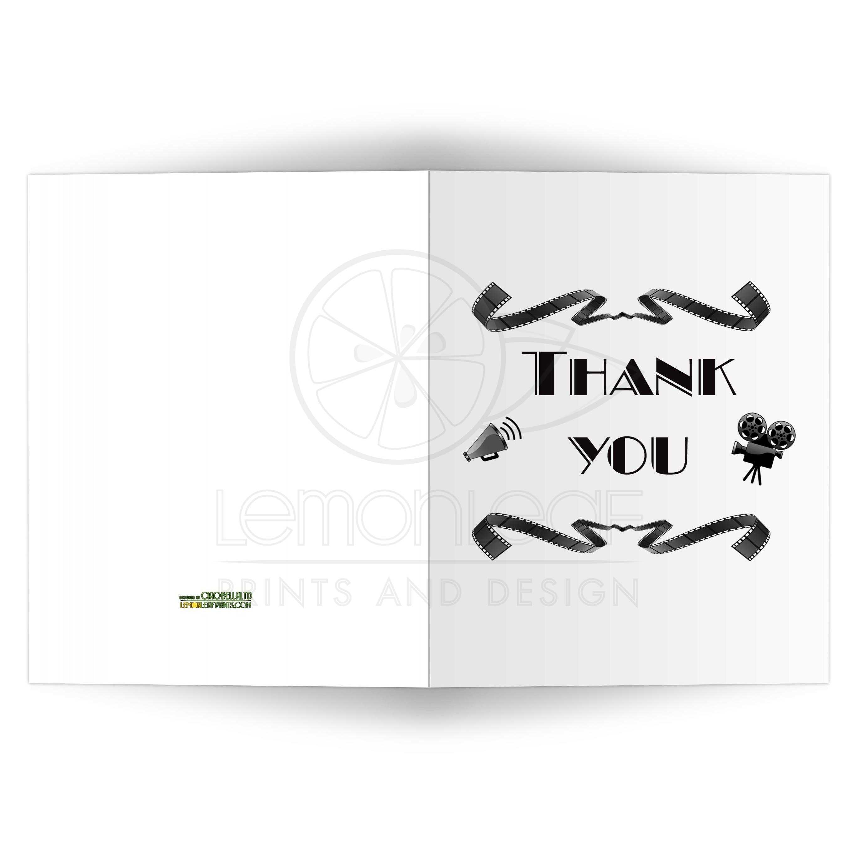 Trendy Vintage Hollywood Movie Inspired Blank Thank You Card