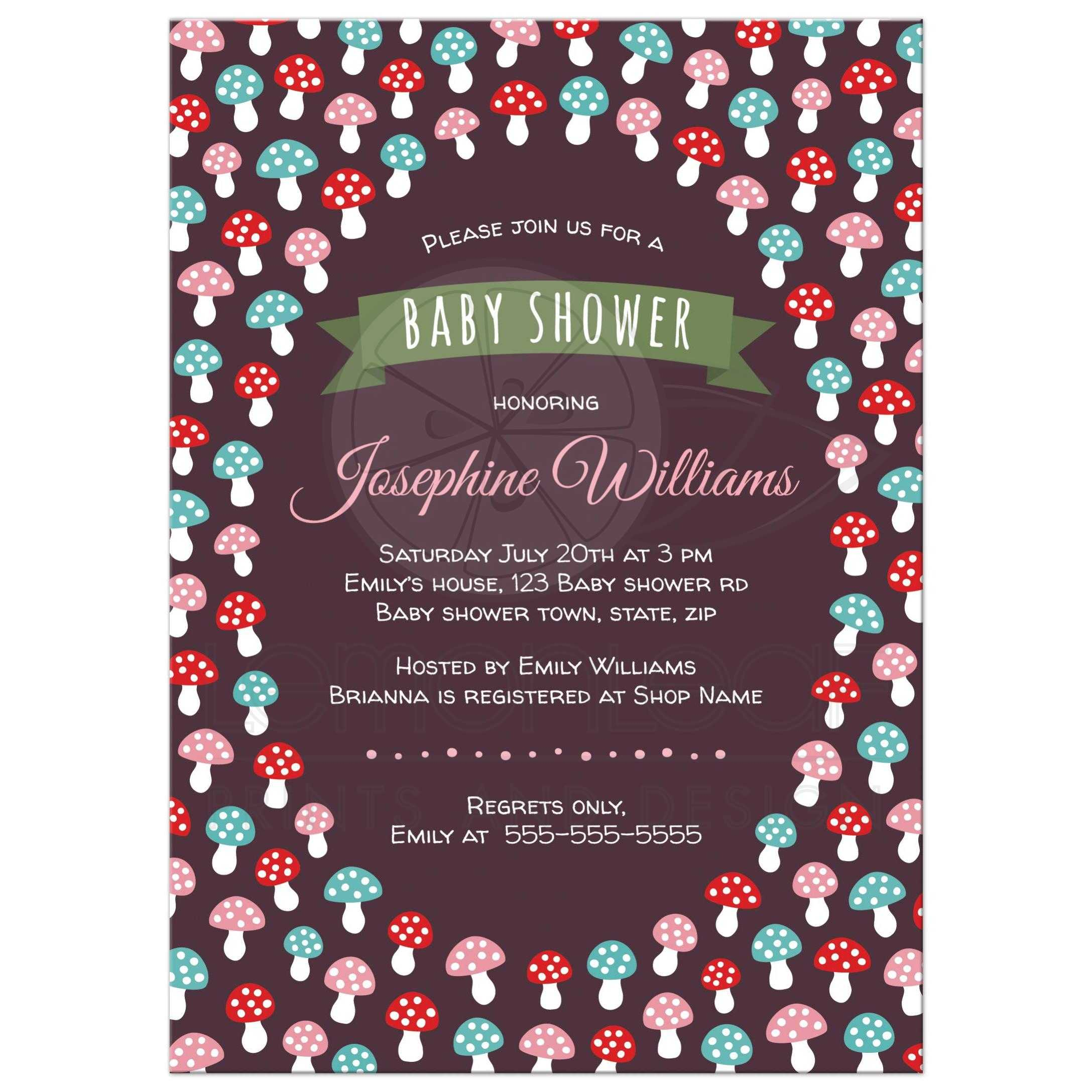Cute baby shower invitation with red, pink and blue mushrooms ...
