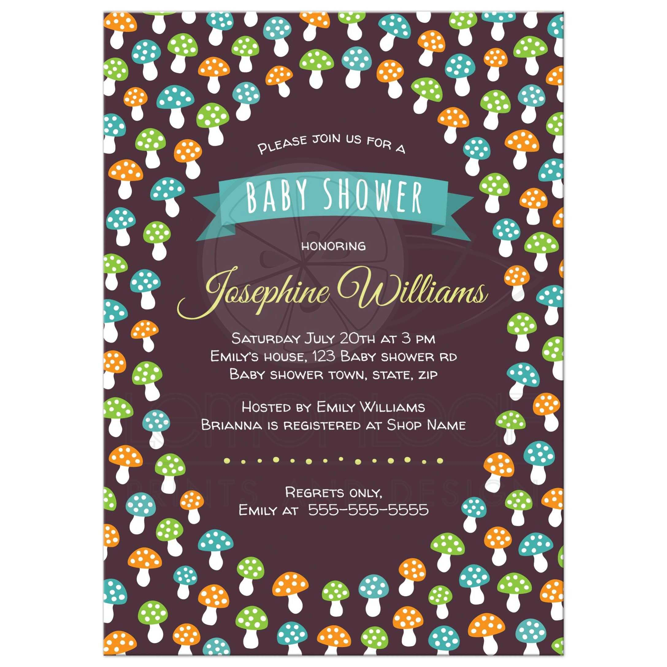 Cute Baby Shower Invitation With Green Orange And Blue Mushrooms