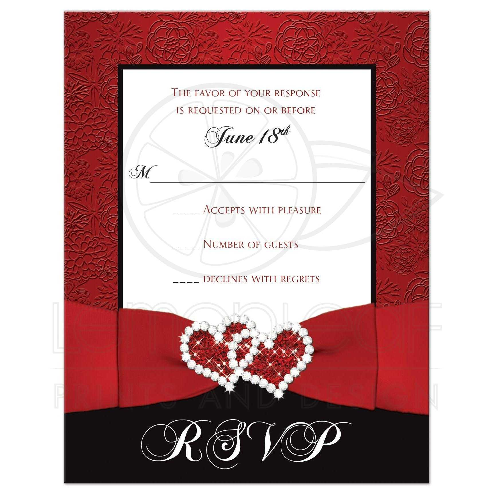 Wedding RSVP Card | Red, Black, White Floral | Printed Ribbon