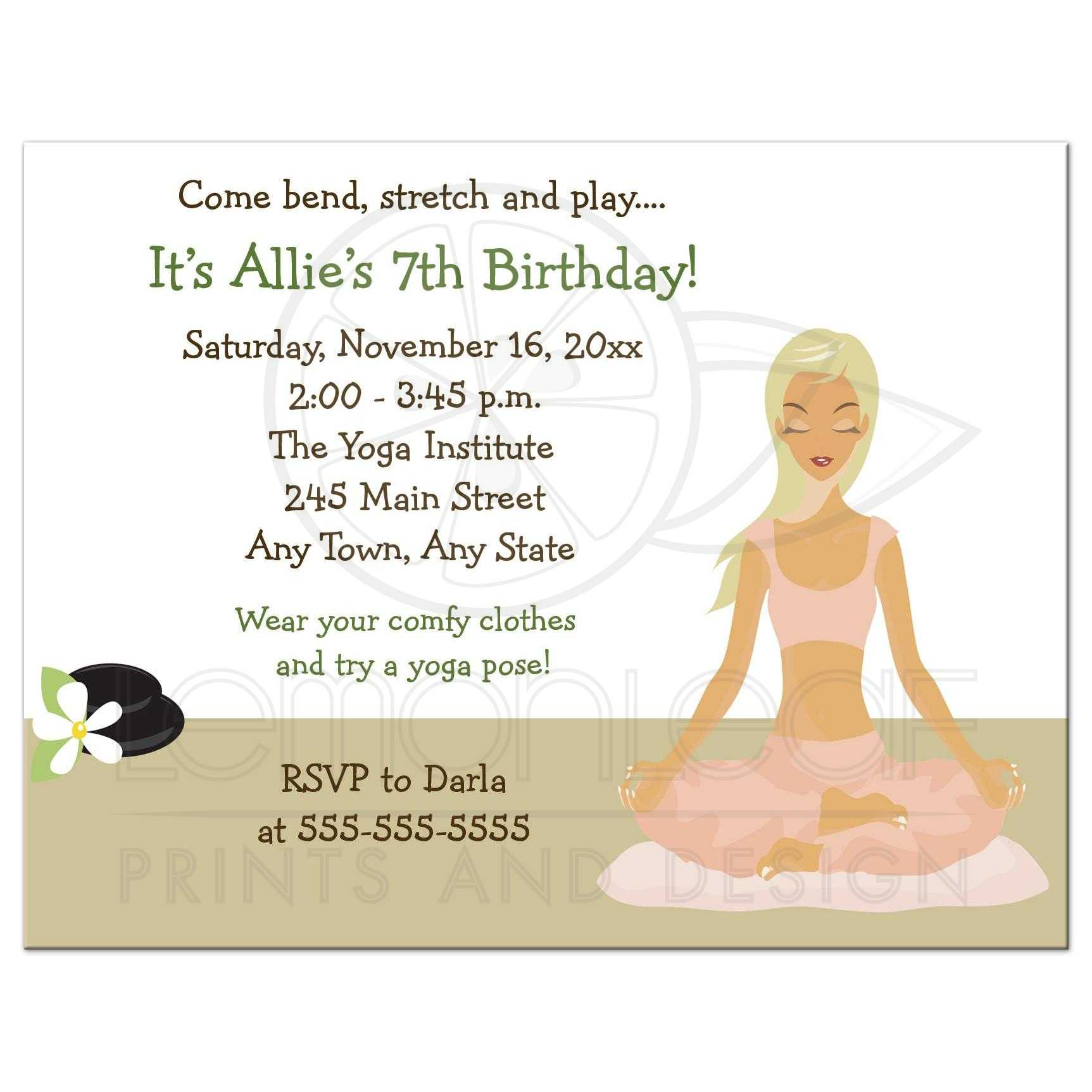 Yoga Birthday Girl Party Invitation - Blonde Hair