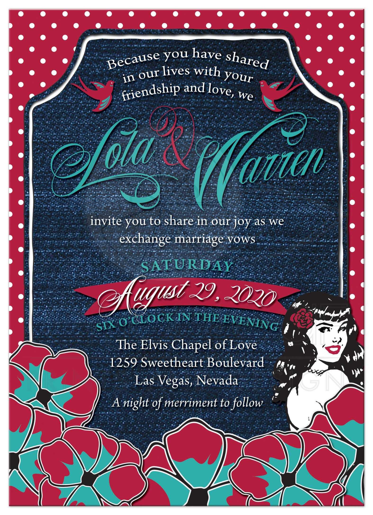Rockabilly Wedding Invitations Denim