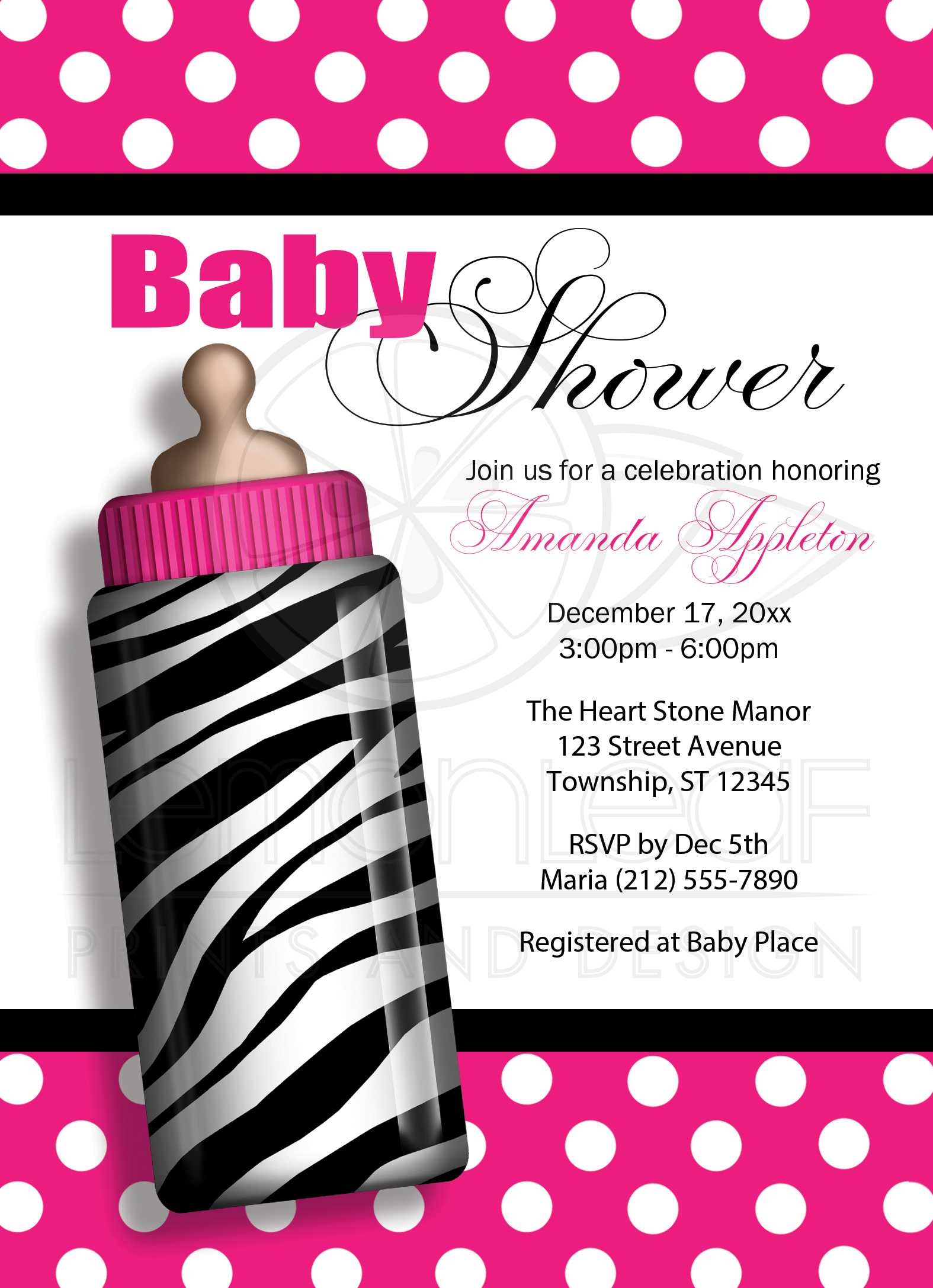 Baby Shower Invitations - Zebra Print Baby Bottle Hot Pink