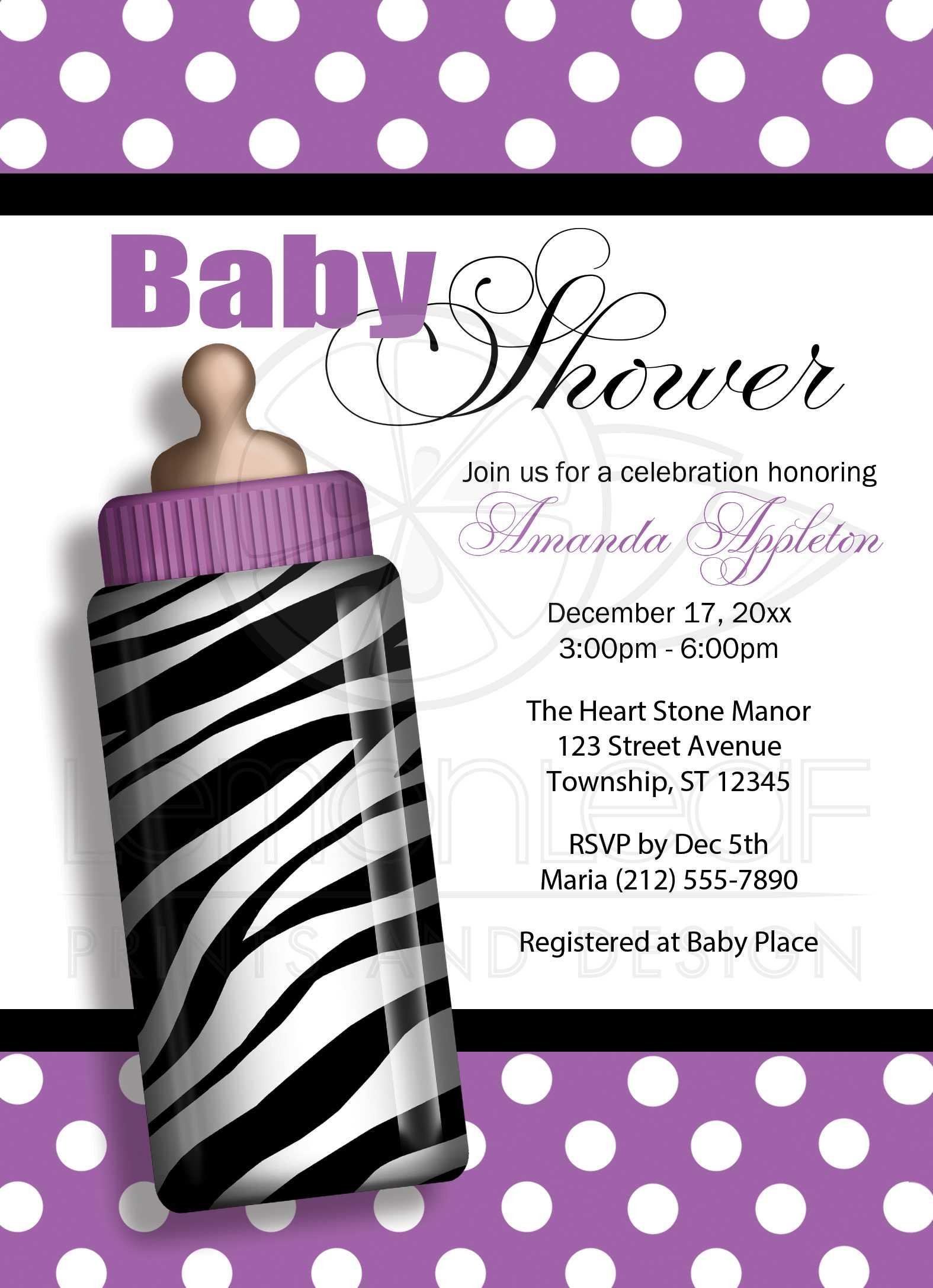 Baby Shower Invitations Zebra Print Baby Bottle Purple
