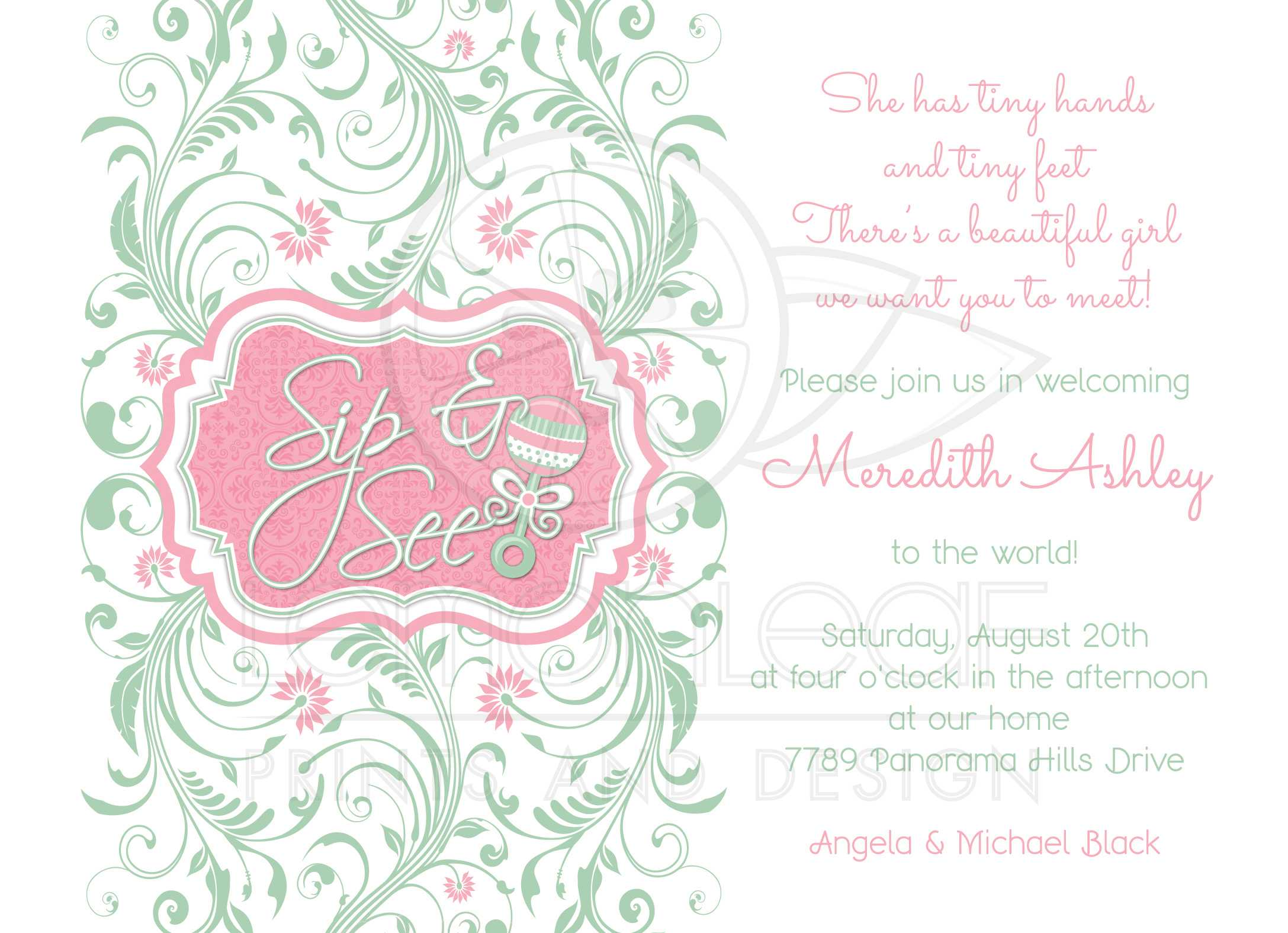 Baby Shower Invitation Rattle Mint Pink