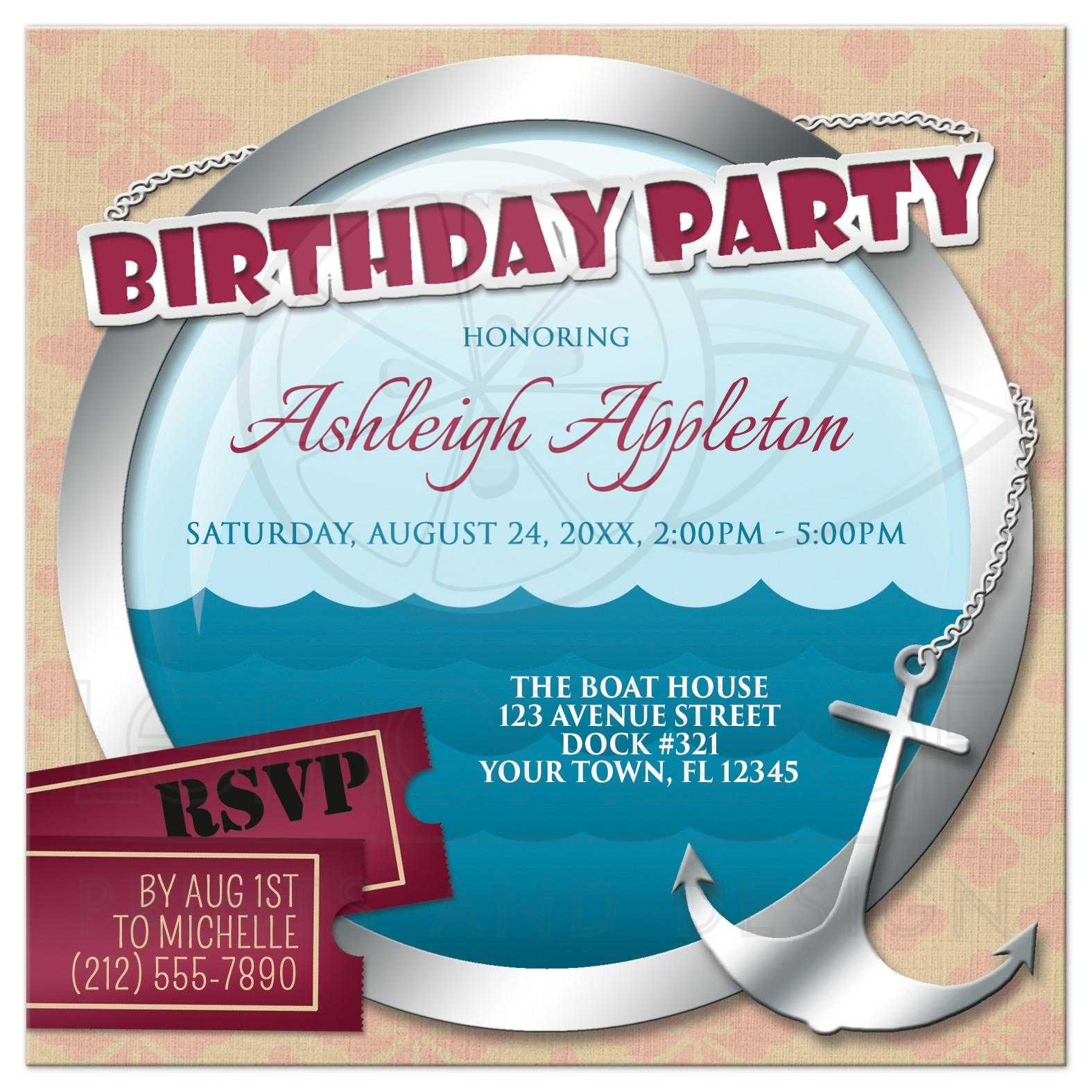 Birthday Party Invitations - Nautical Anchor & Porthole At Sea
