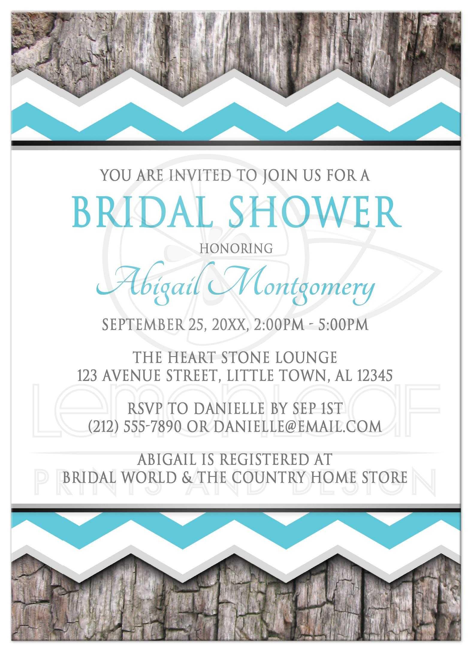 Bridal Shower Invitations - Turquoise Chevron & Rustic Wood