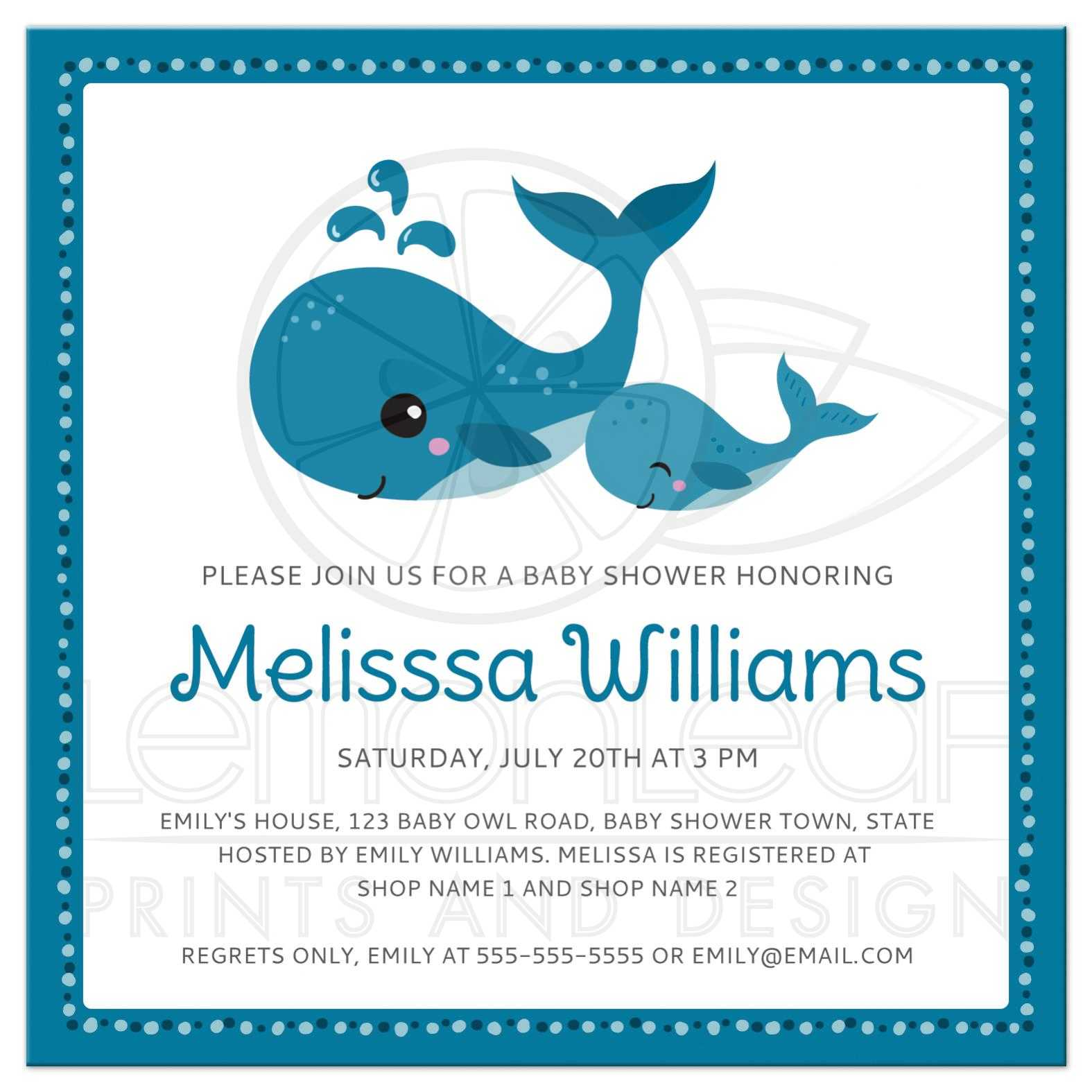 cute whale sea critter baby shower invitation for boys with mommy and baby whales