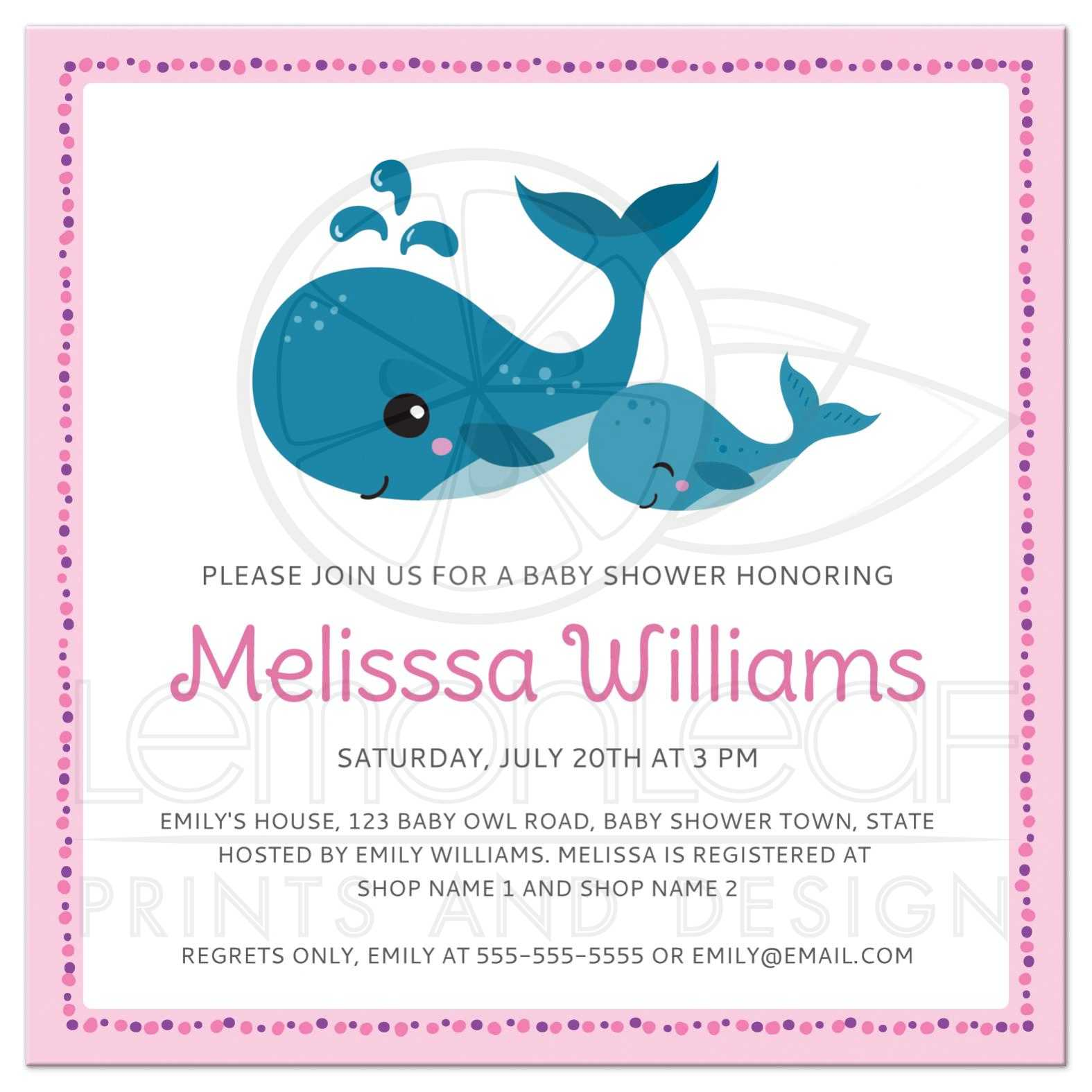 Mommy and baby whales cute pink baby shower invitation for girls