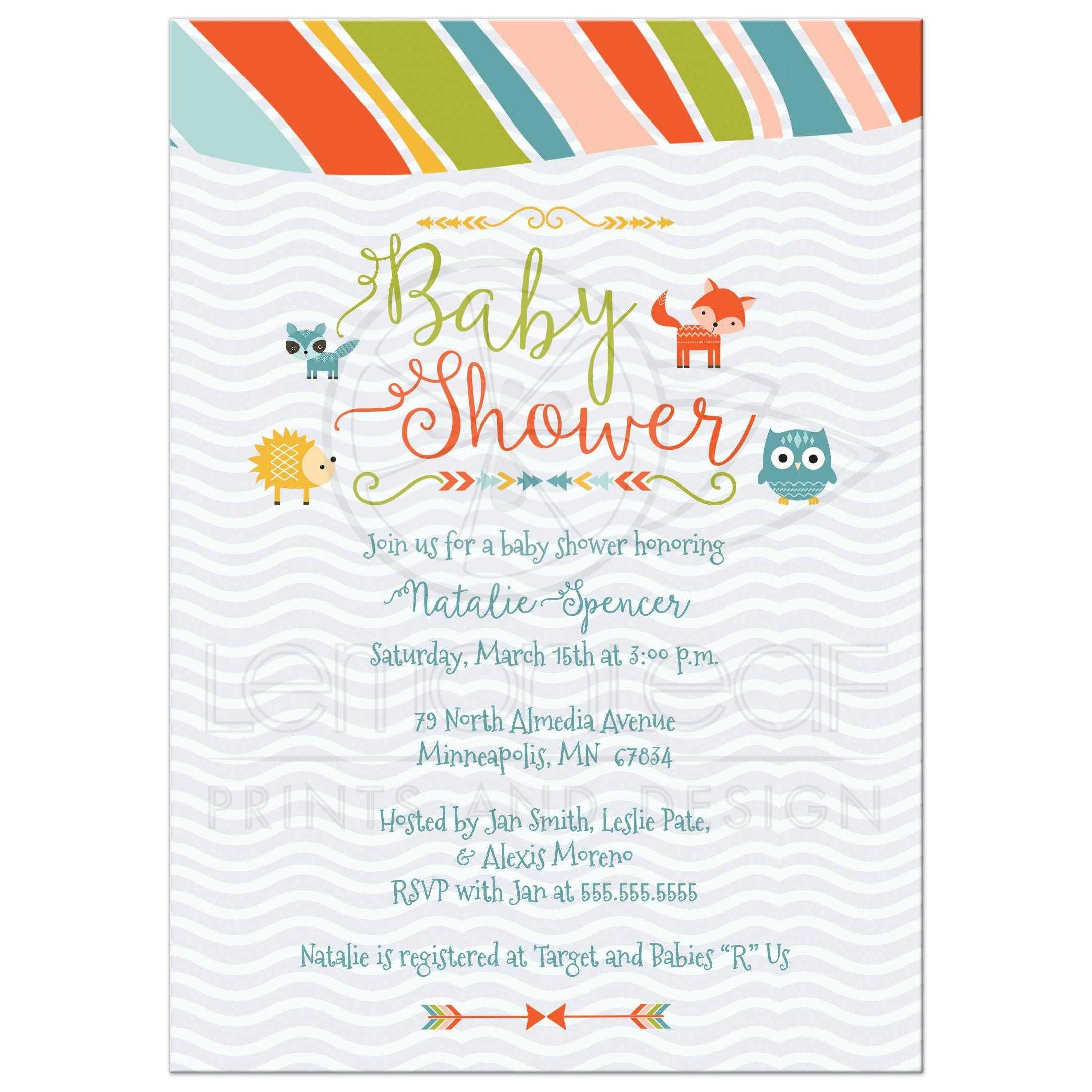 Baby Shower Invitation Colorful Woodland Tribal Design