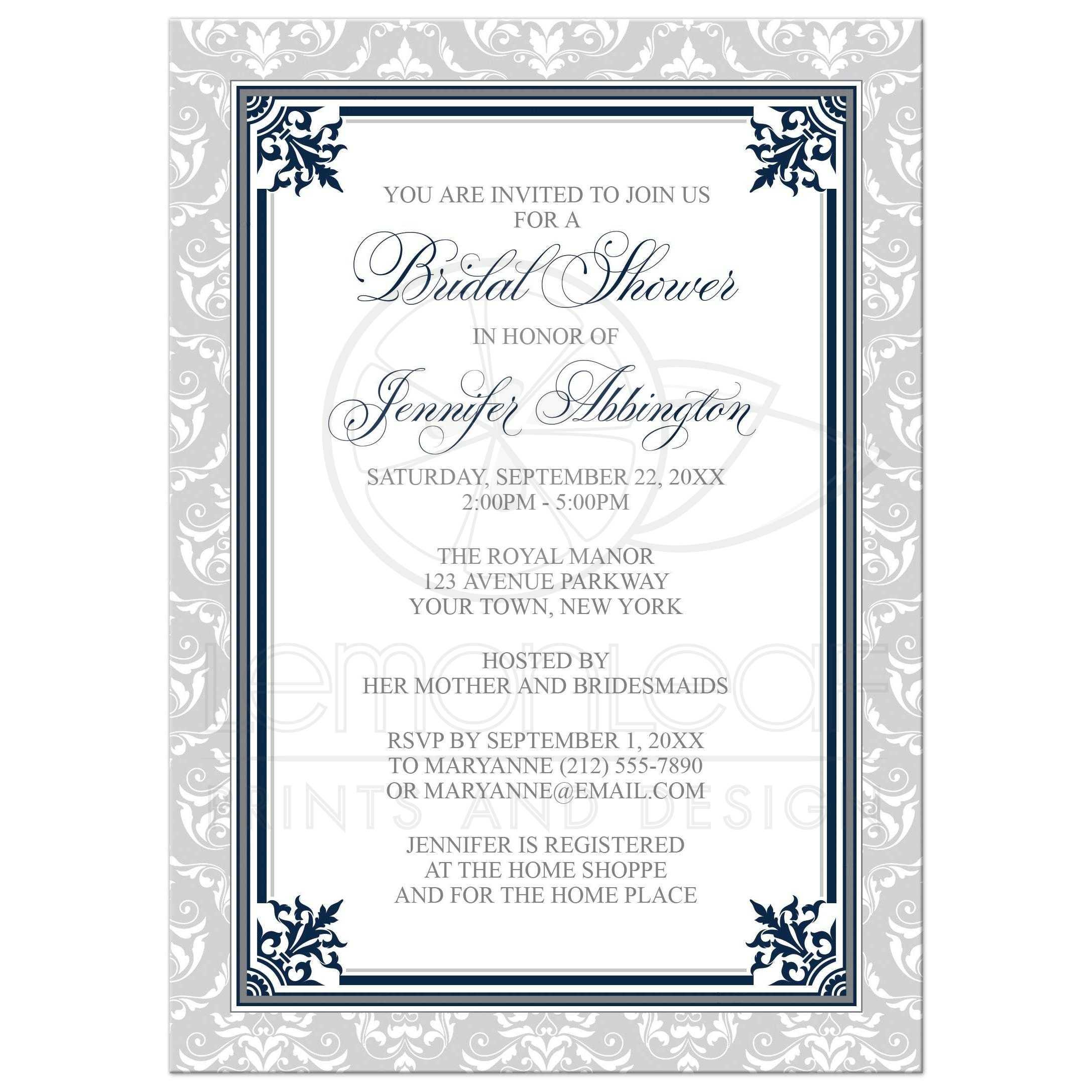 Shower Invitations - Navy and Gray Elegant Damask