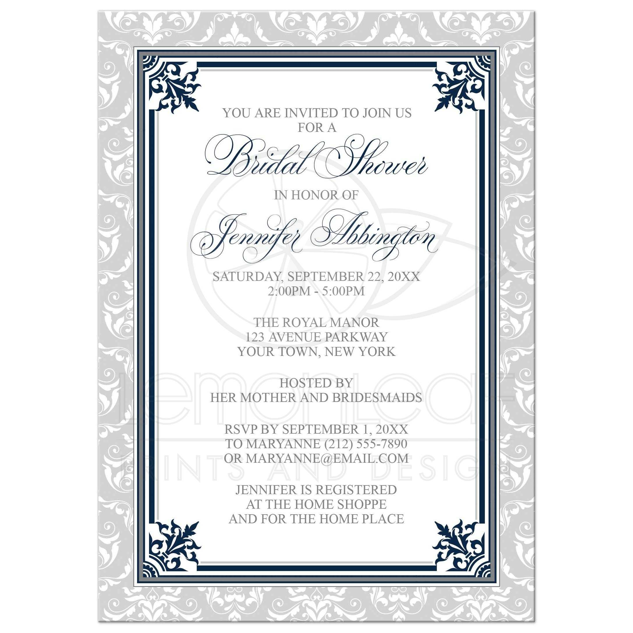Shower Invitations Navy And Gray Elegant Damask