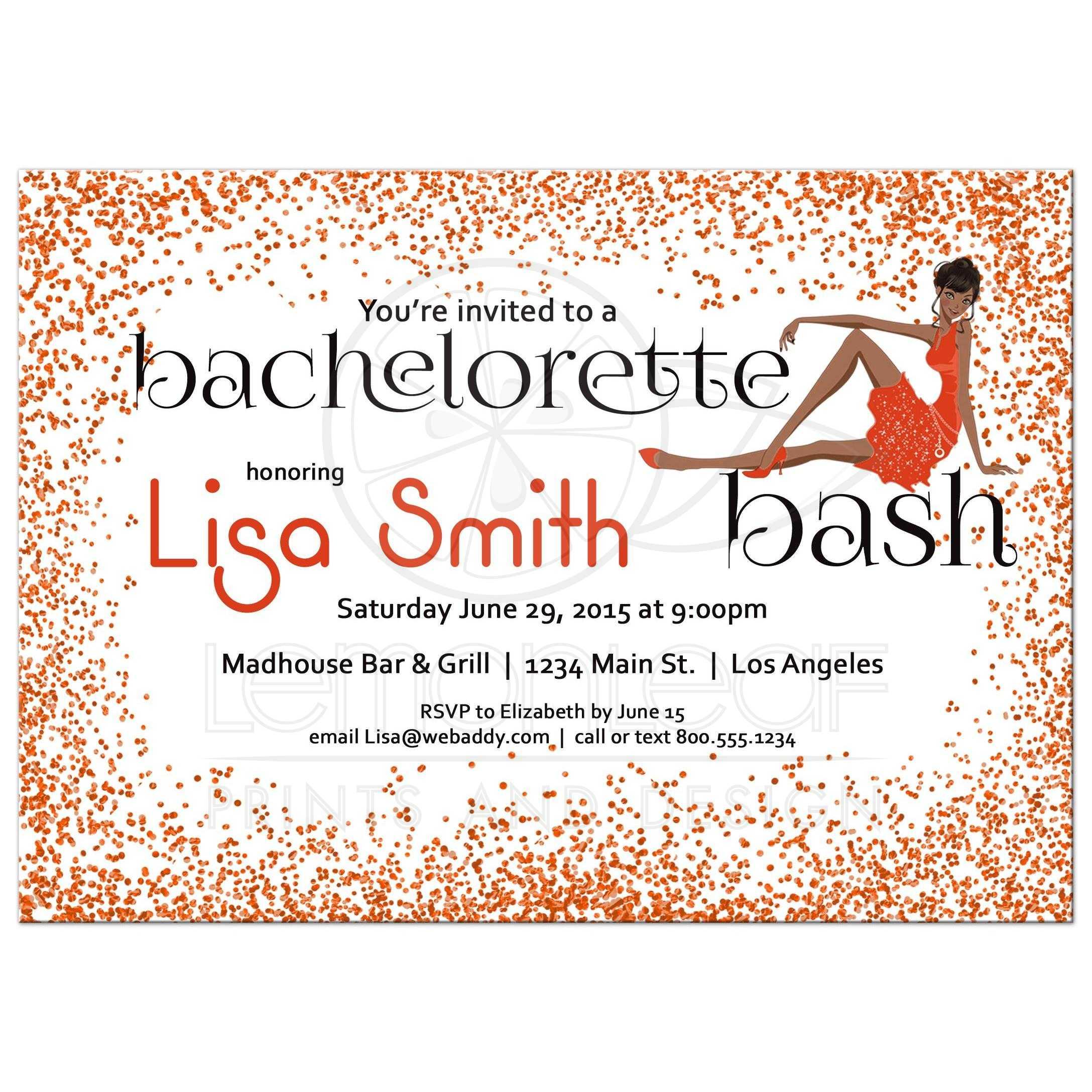 dark skinned girl with orange glitter bachelorette party invitation