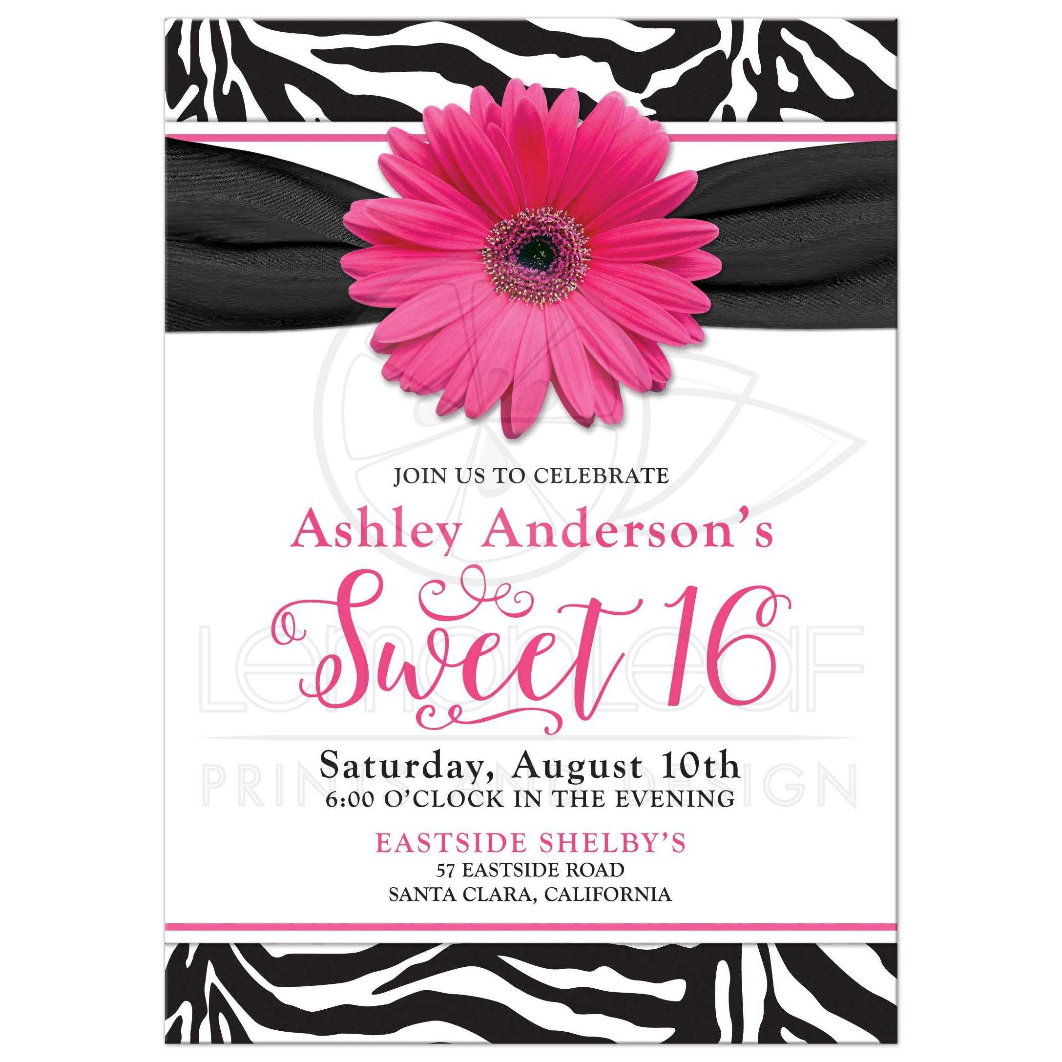Chic Sweet 16 Birthday Invitation Hot Pink Daisy Black White Zebra