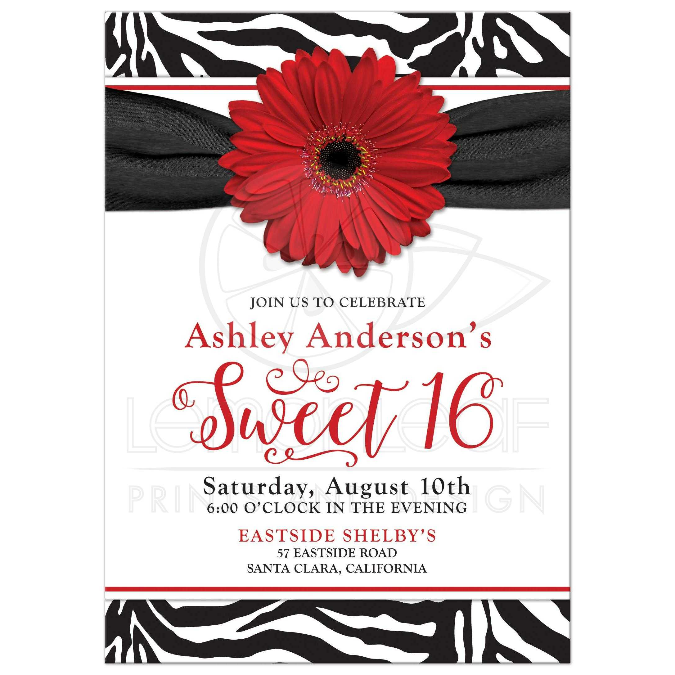Sweet 16 Birthday Invitation | Chic Black White Zebra Print Red Daisy