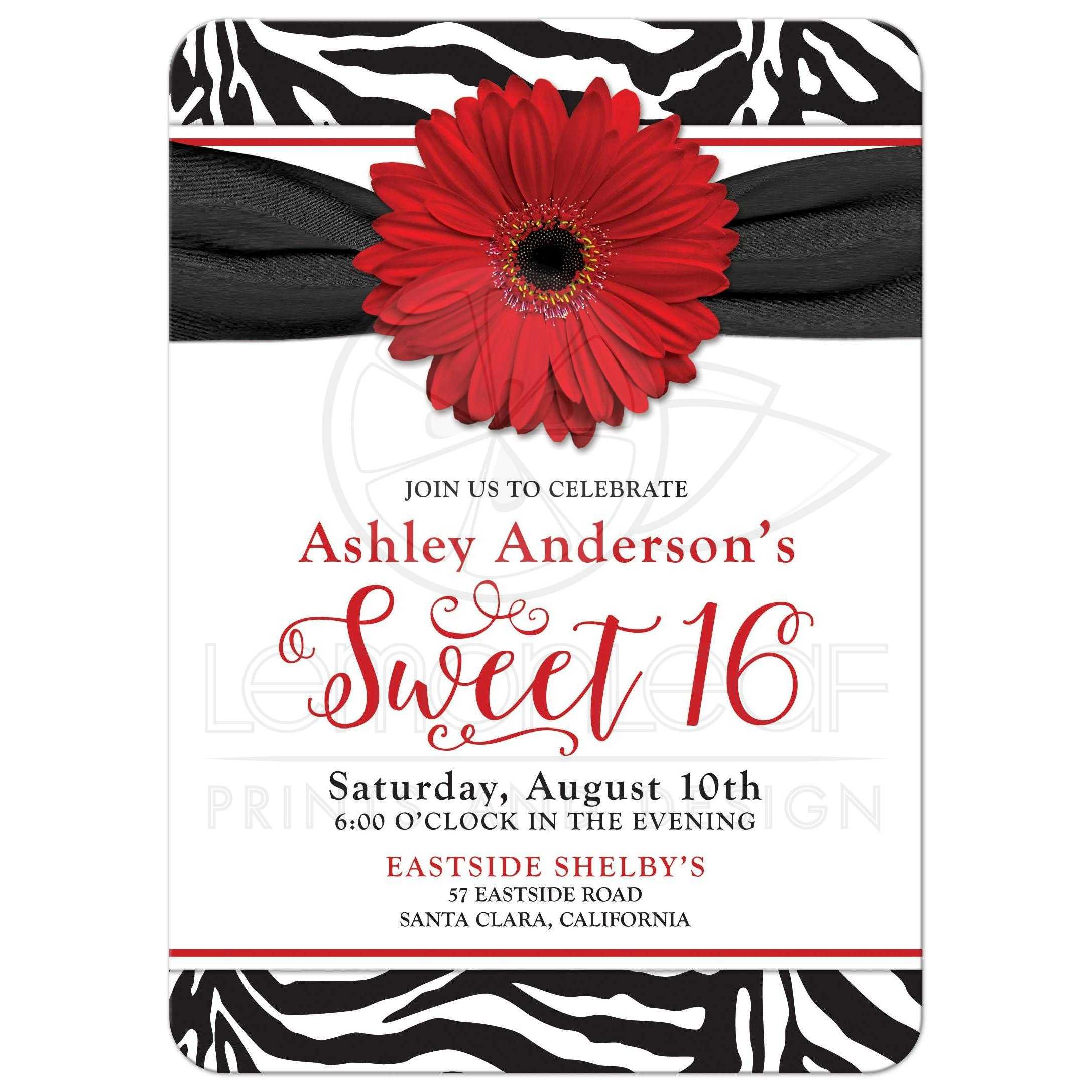 sweet 16 birthday invitation | chic black white zebra print red daisy, Birthday invitations