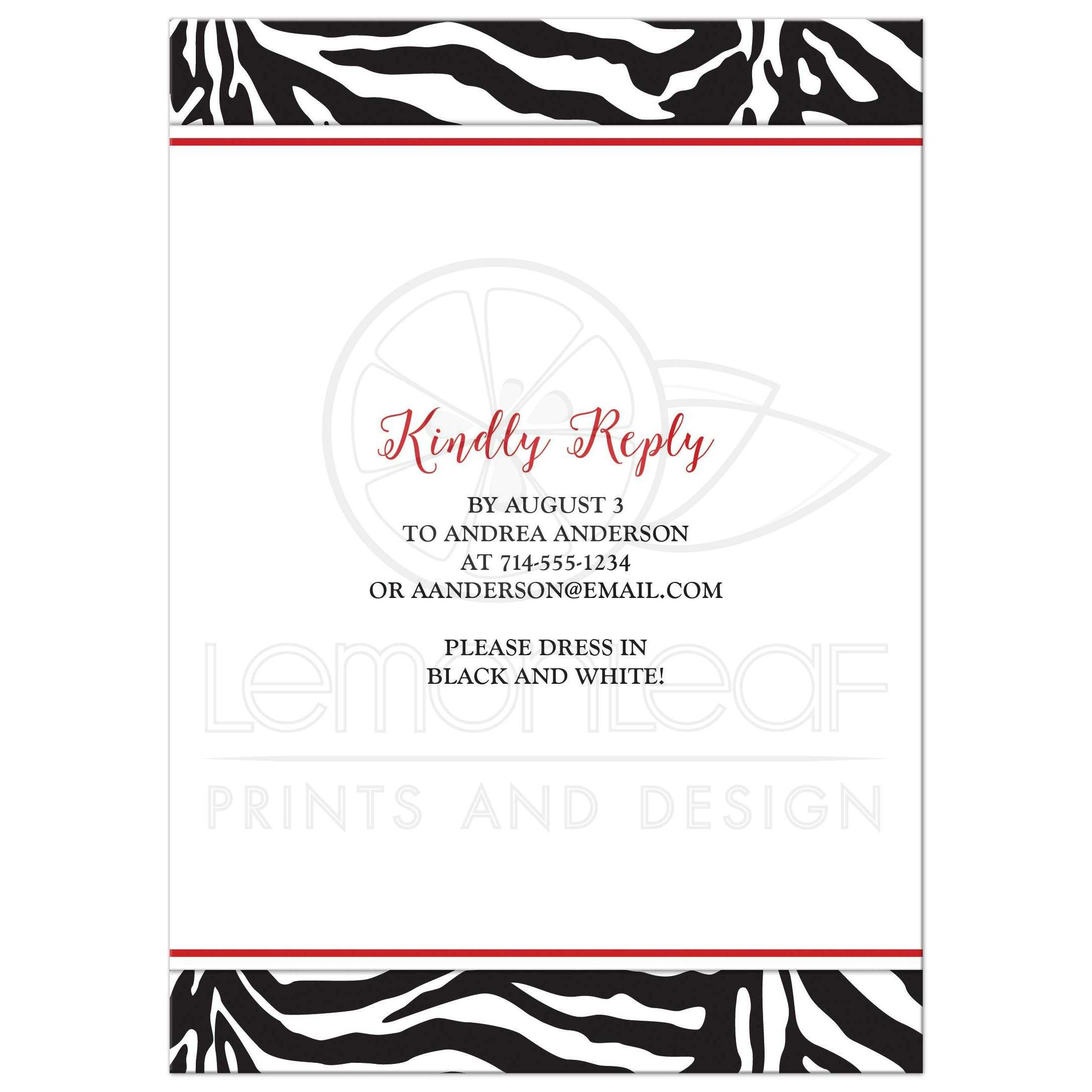 sweet 16 birthday invitation | chic black white zebra print red daisy, Birthday invitations
