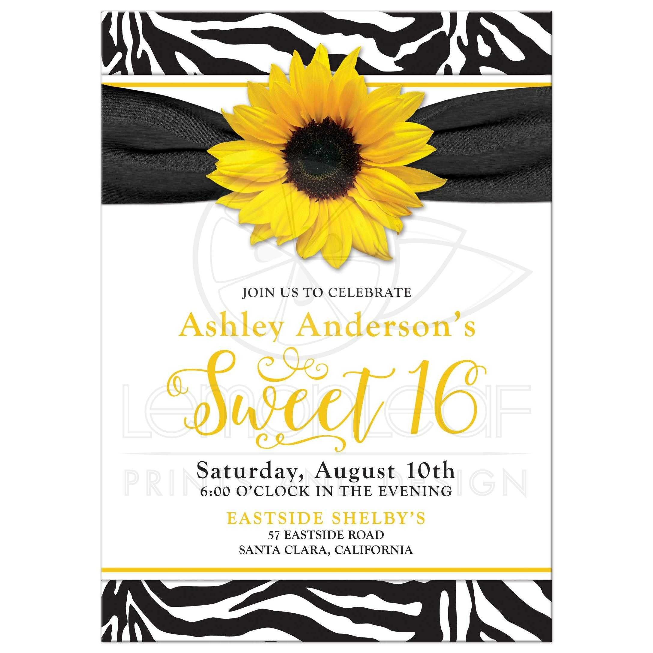 Sunflower Black And White Zebra Print Sweet 16 Birthday Party Invitation Front
