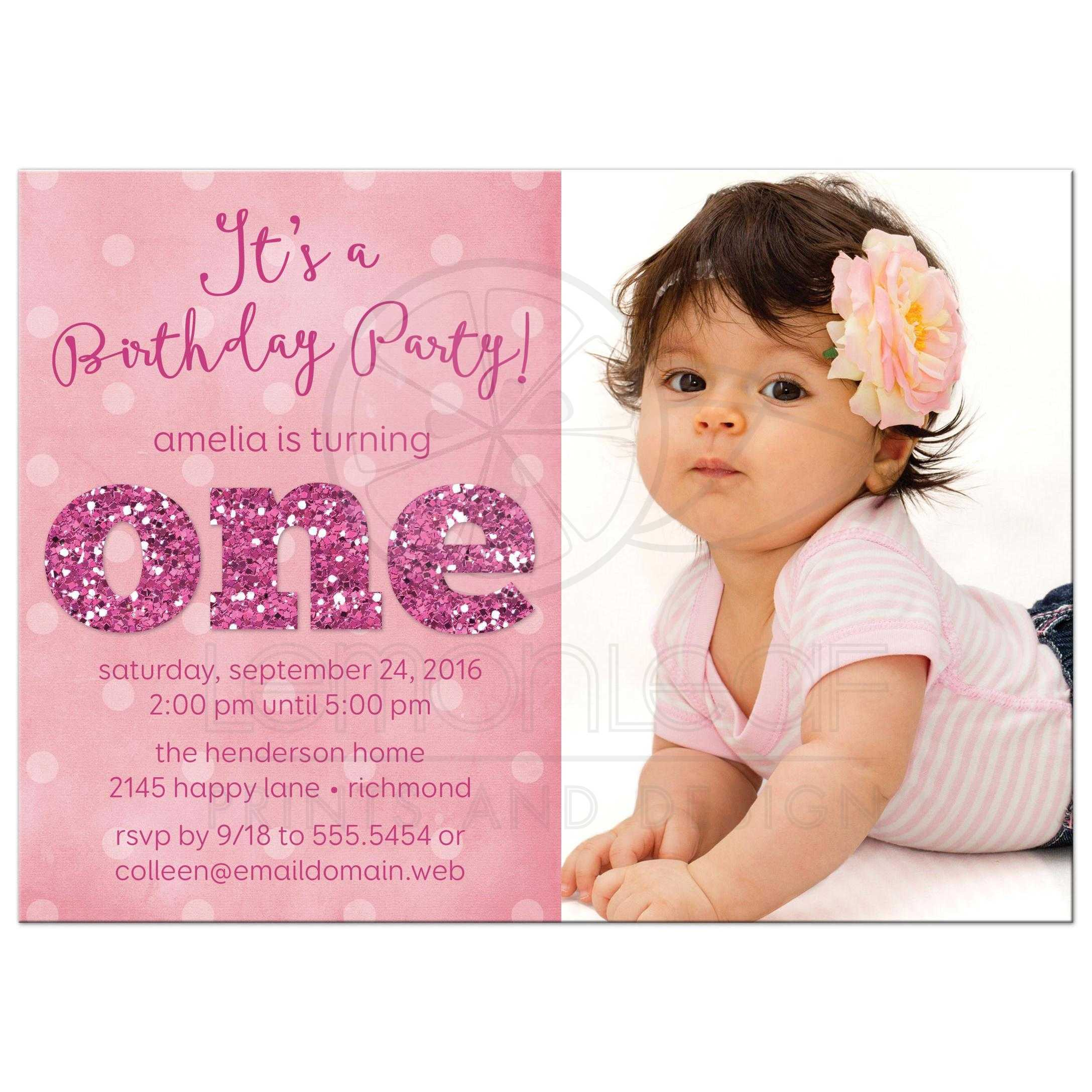 Ist Birthday Party Photo Invitations Sparkle One – One Year Old Birthday Invitation