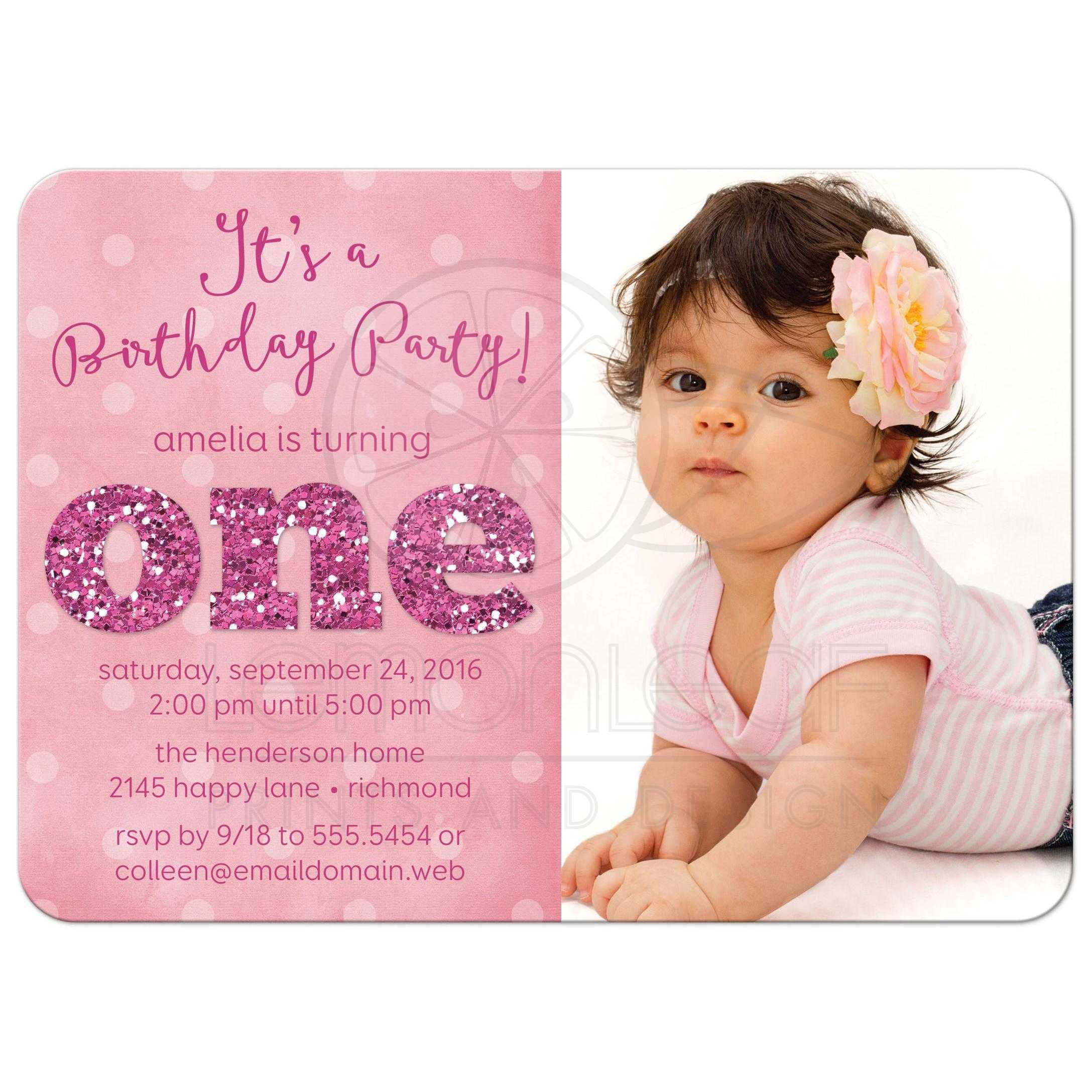 Girl First Birthday Invitations Pink And Gold Party ONE Shaped Baby