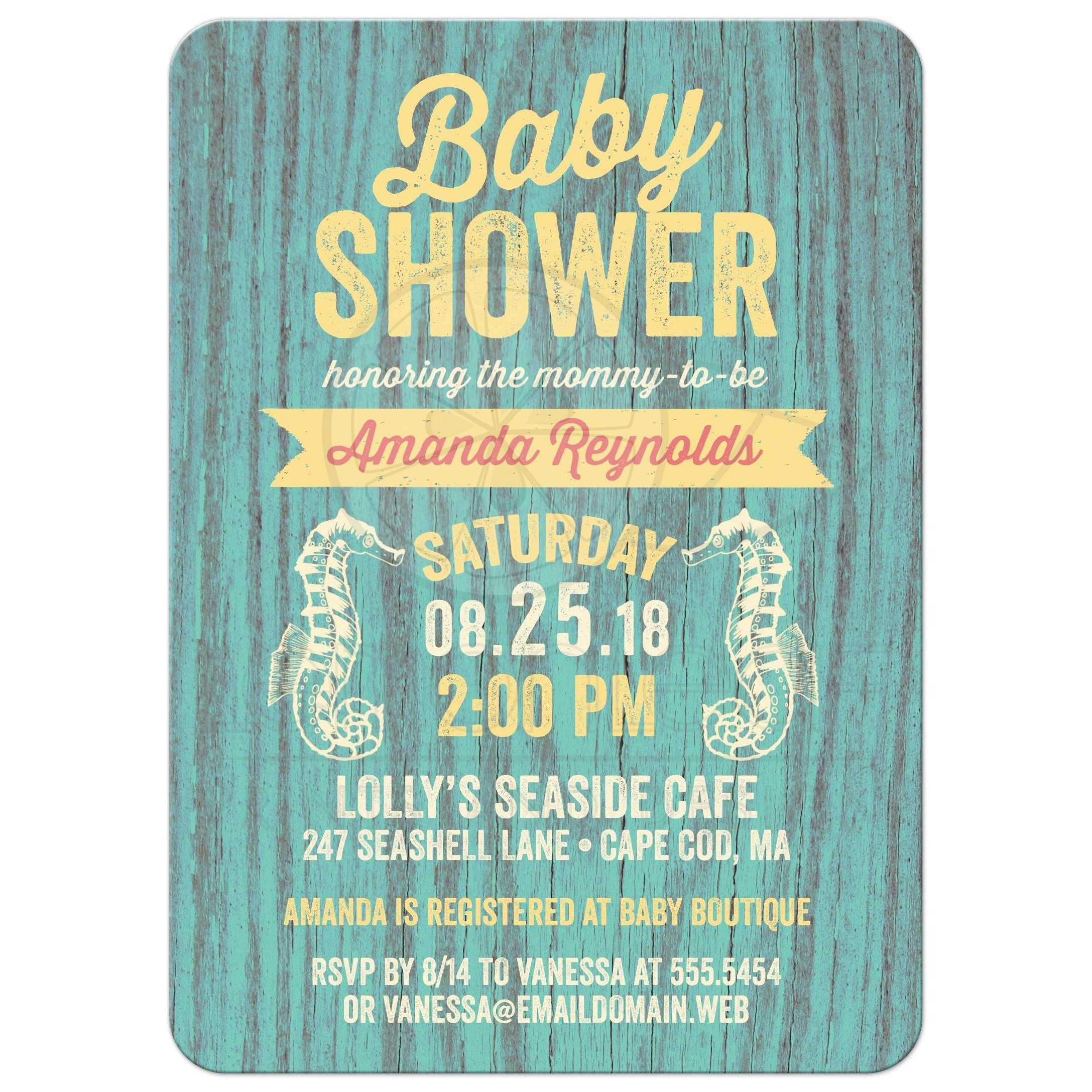 Baby Shower Invitations - Rustic Nautical Seaside Cottage Sign