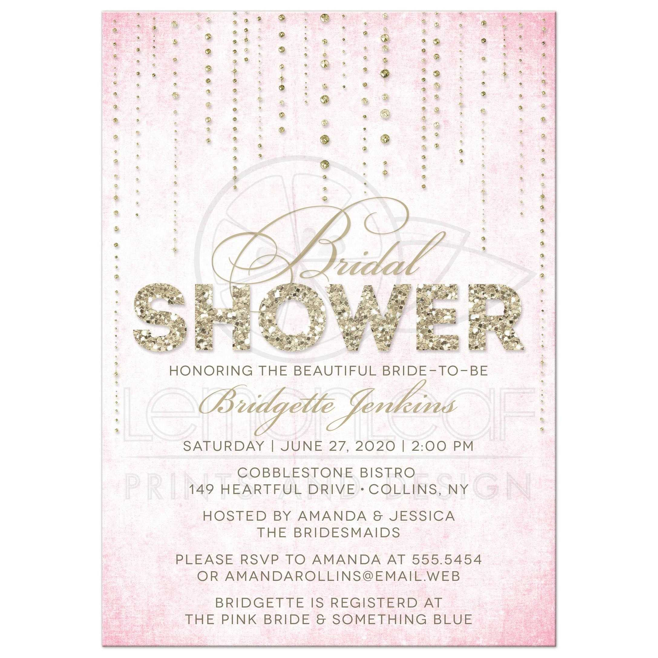 pink gold glitter look streaming gems bridal shower invitations front