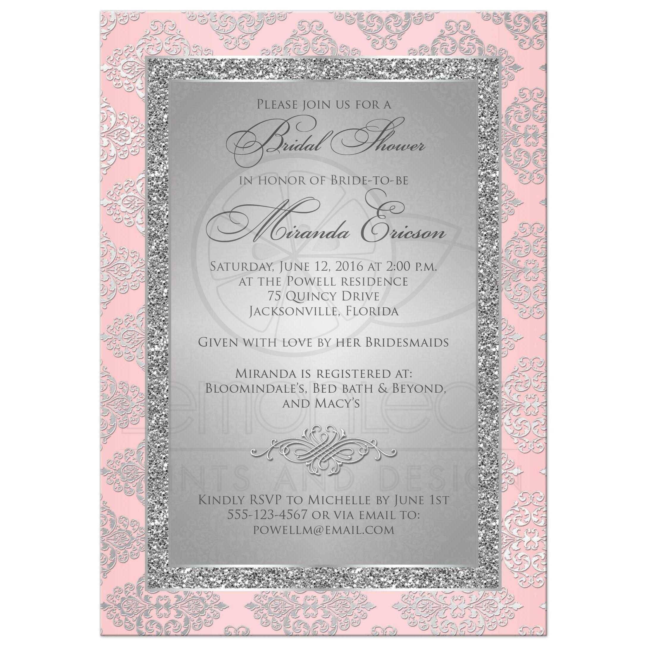 Bridal Shower Invitation Blush Pink Silver Gray Damask Faux