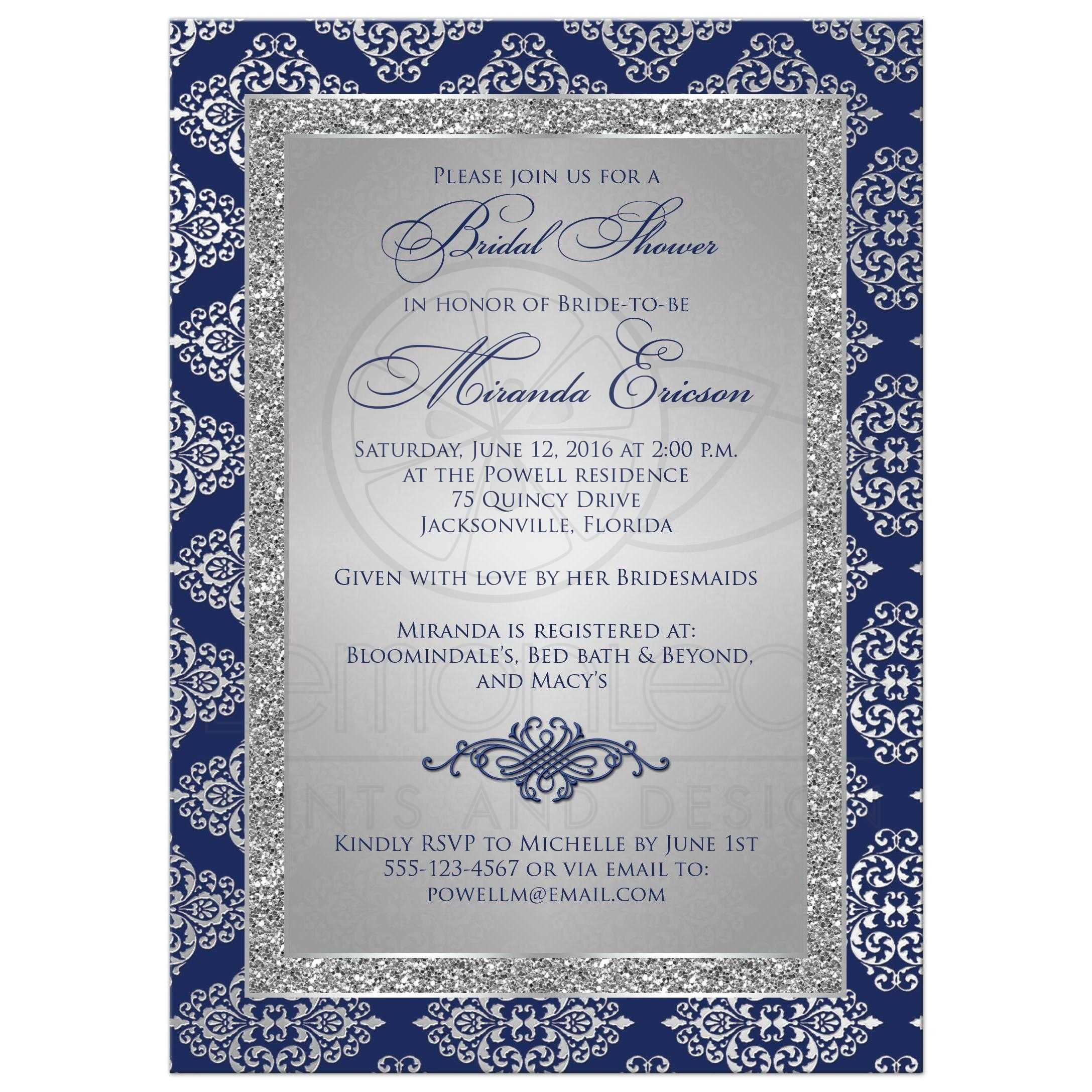 Bridal Shower Invitation Navy Blue Silver Gray Damask Faux