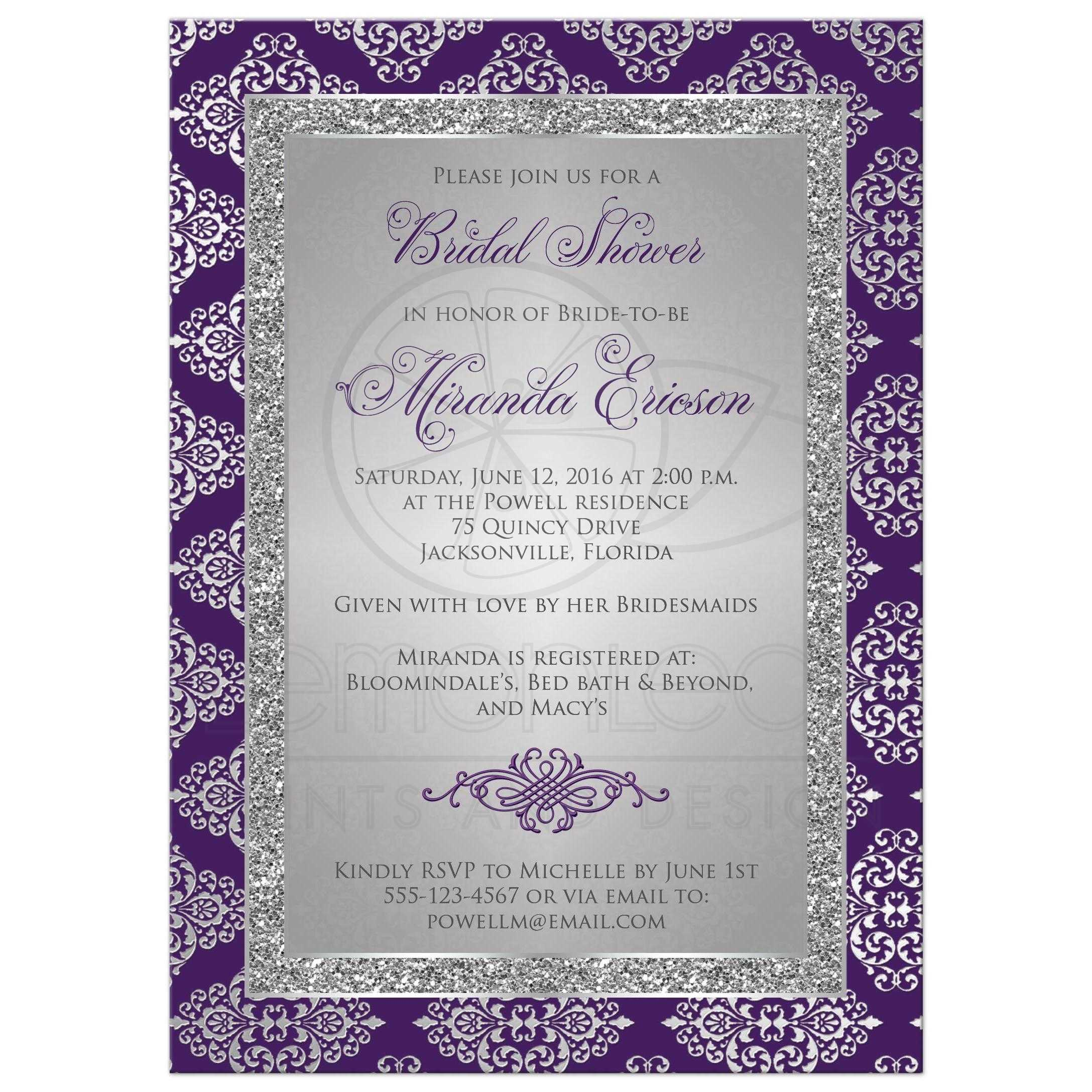 Best Purple And Silver Grey Bridal Shower Invitation With Glitter Damask