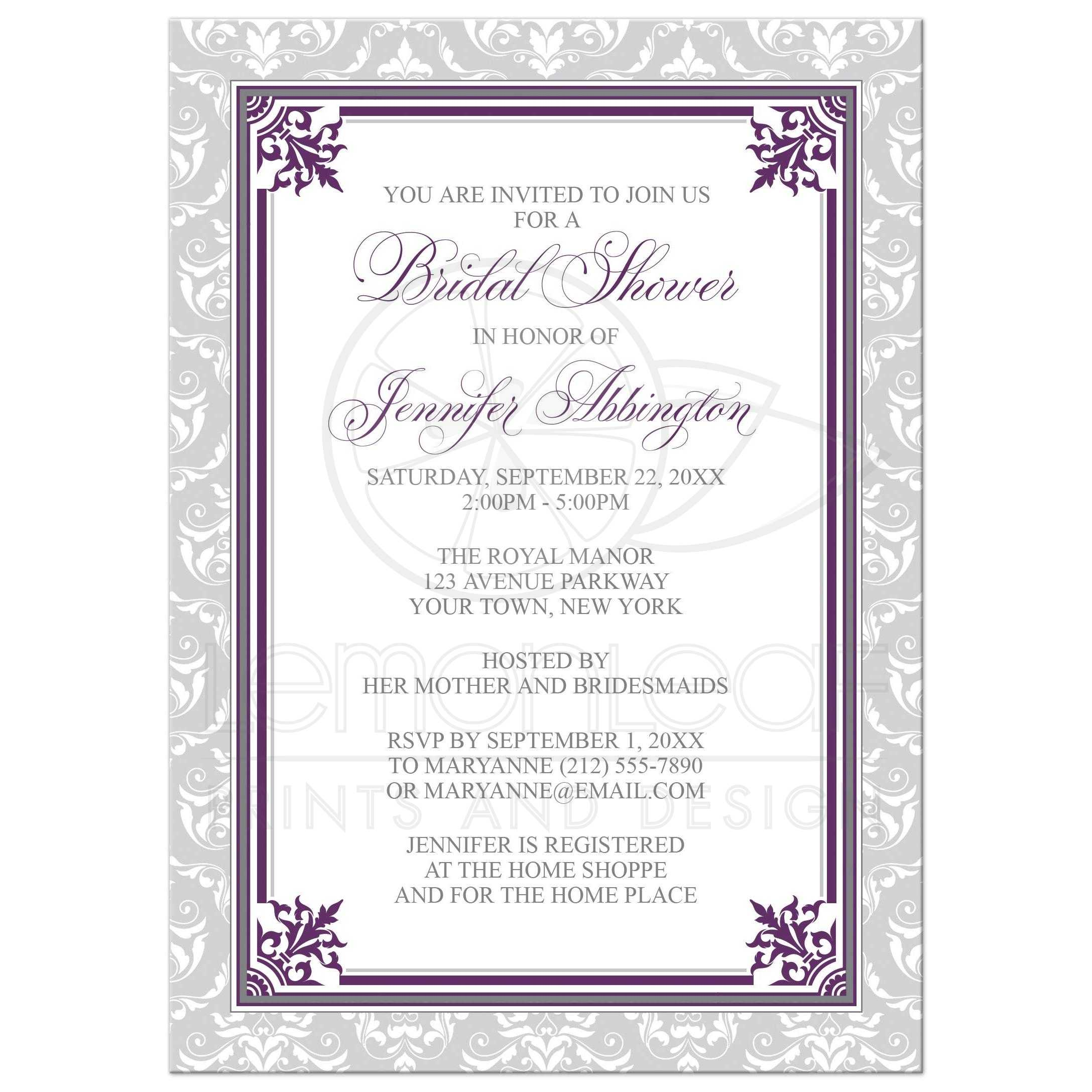 bridal shower invitations plum purple and gray elegant
