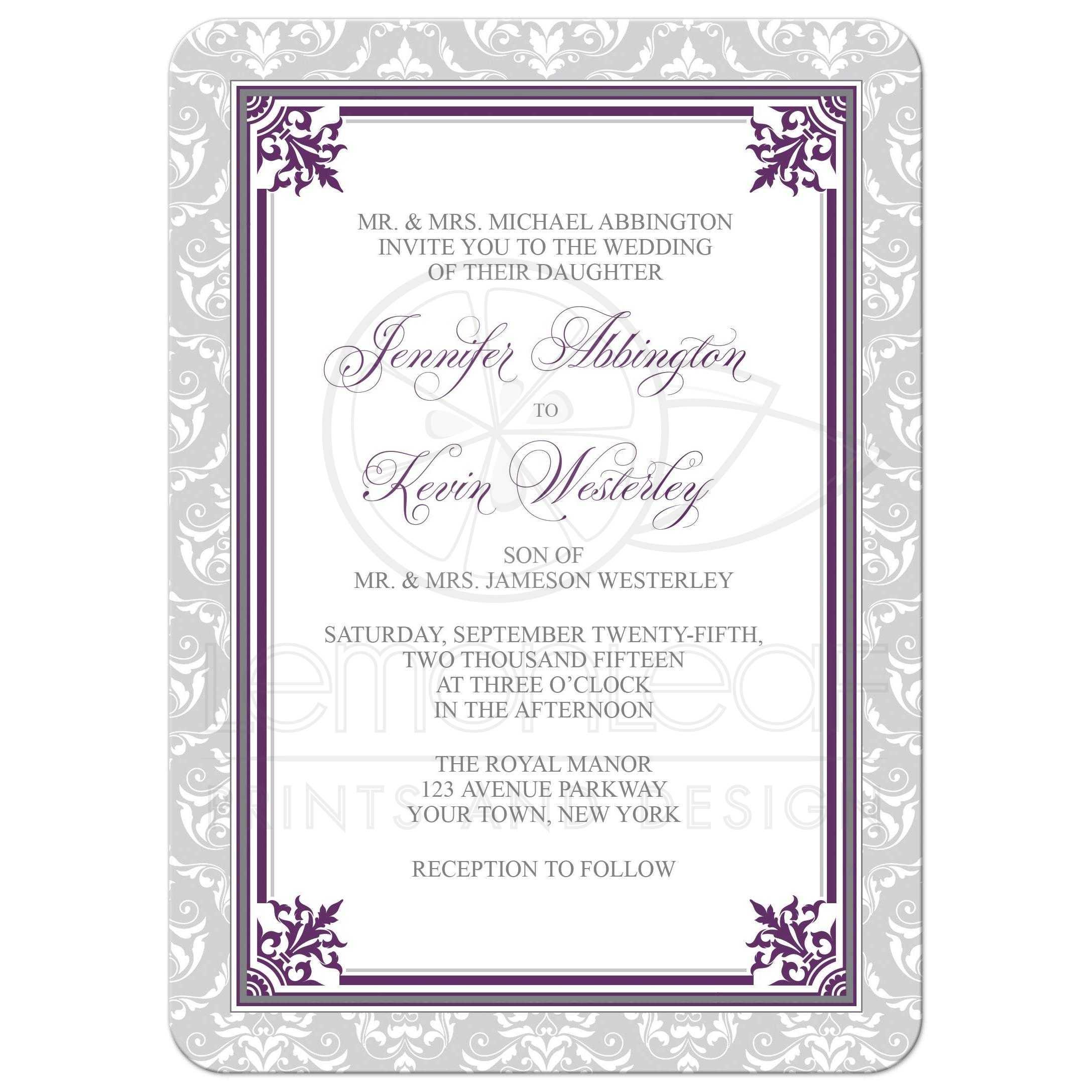 Wedding Invitations   Plum Purple And Gray Elegant Damask
