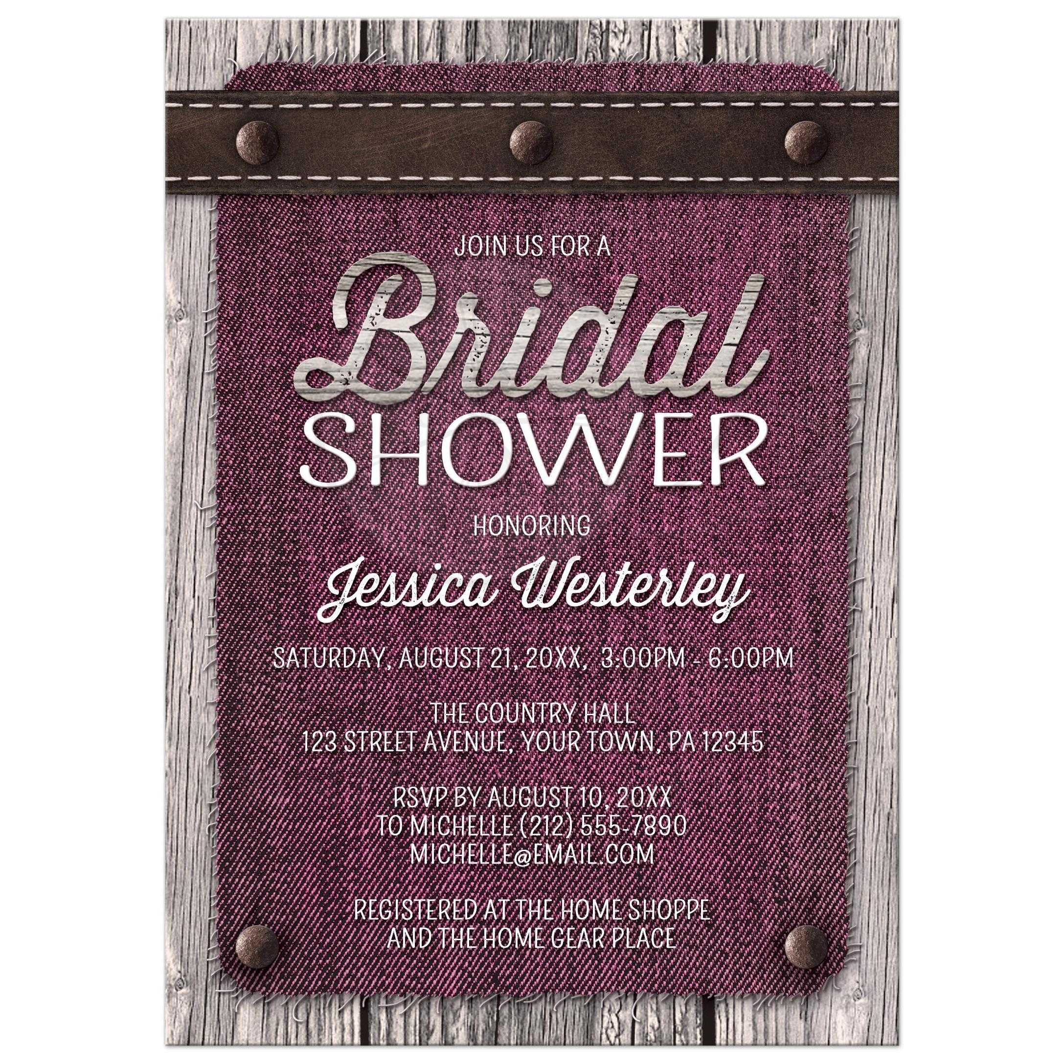 3a926e89ed3 32458 Rectangle Pink Denim Wood Leather Rustic Bridal Shower Invitations.jpg t 1430500195