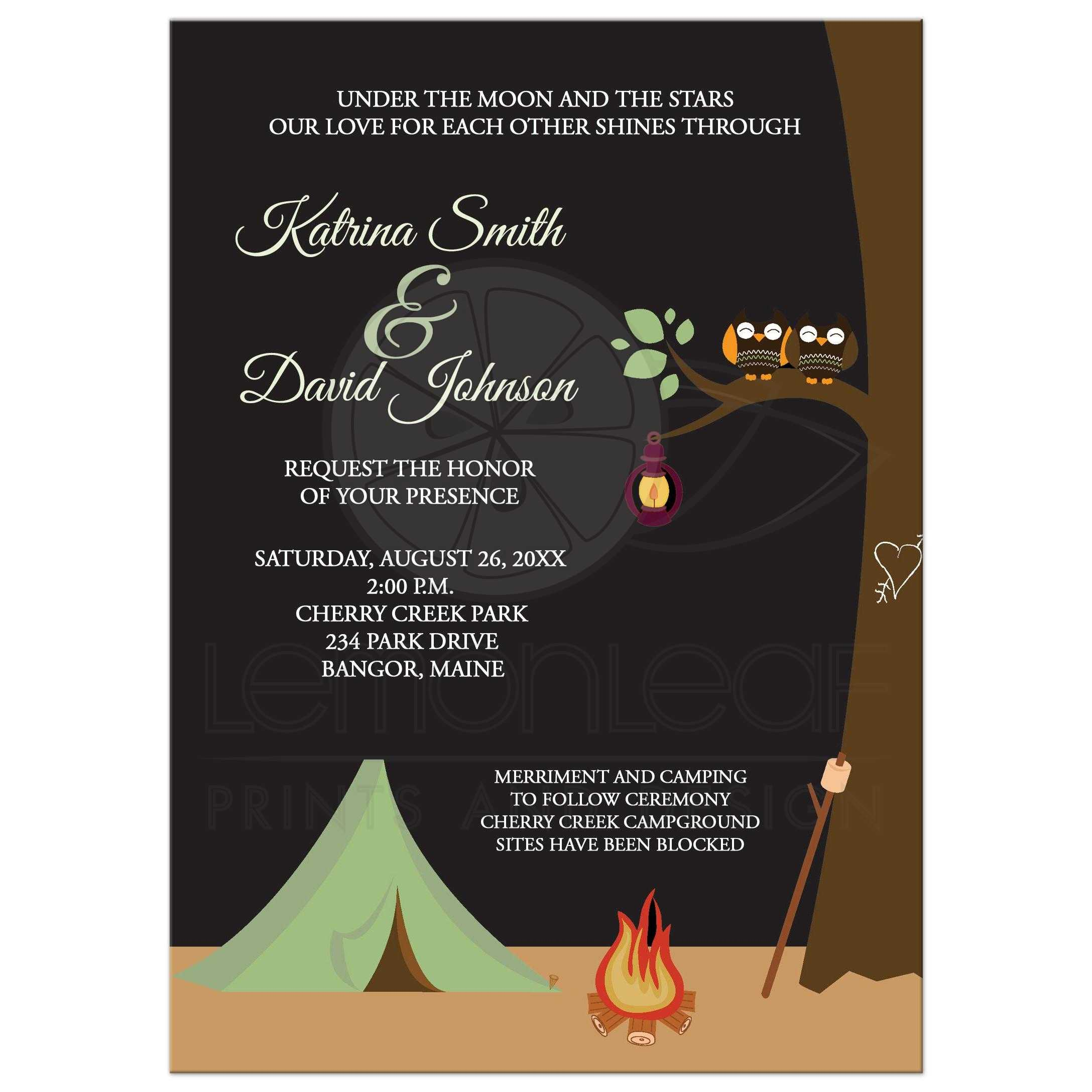 Camping Tent With Cute Owl Couple Wedding Invitation